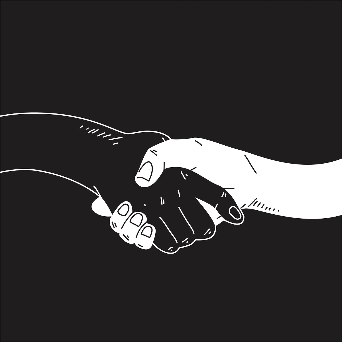 Hands shaking comic style vector