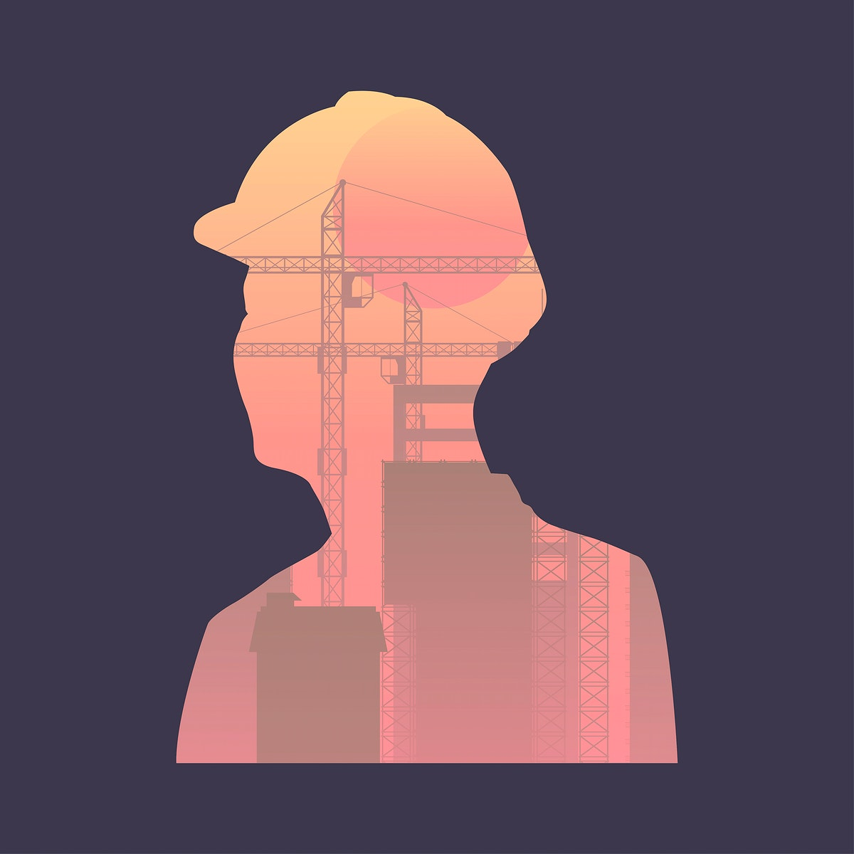 Construction site in man shape shadow graphic illustration