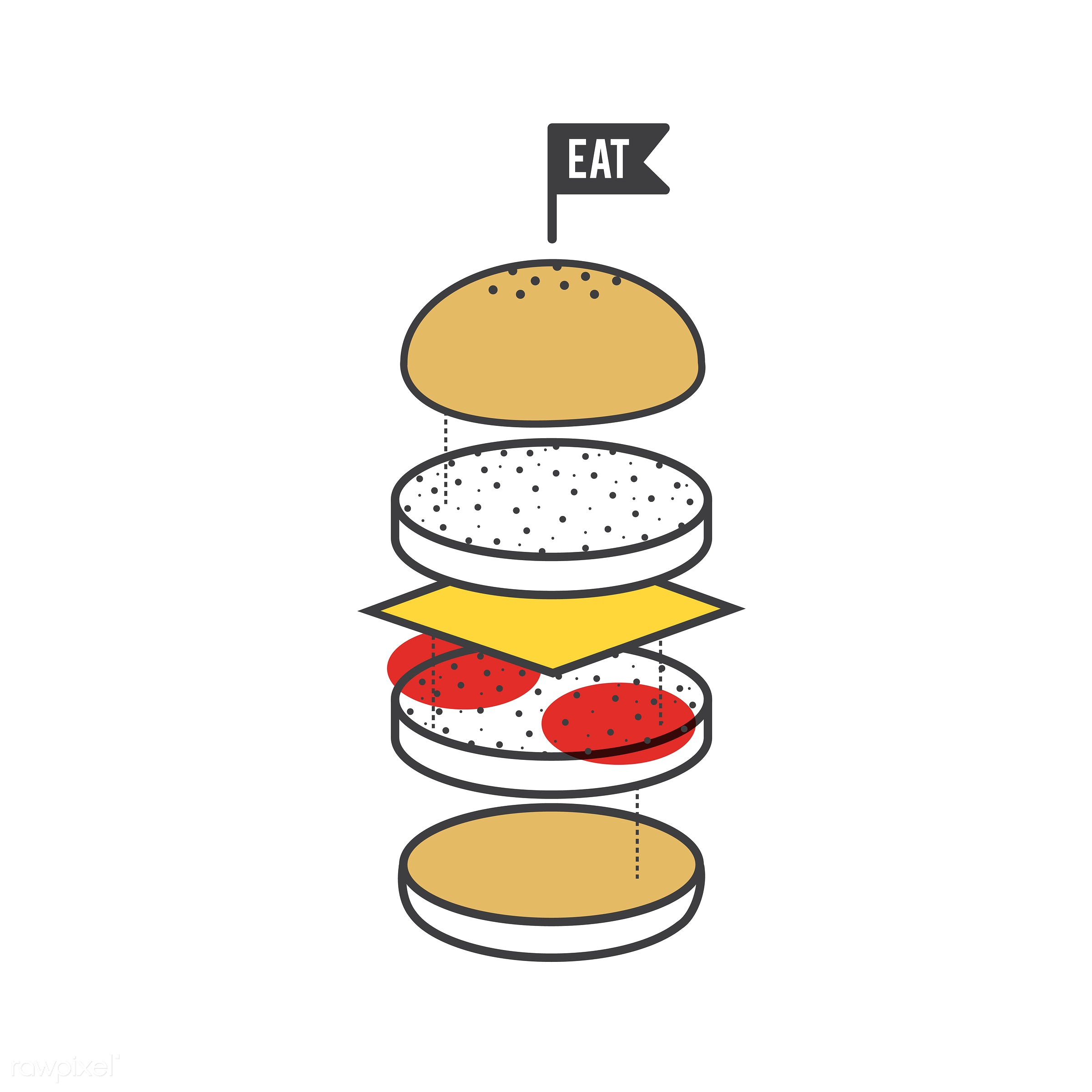 Illustration of hamburger - american, beef, bread, burger, cheese, cheeseburger, cook, cooking, cuisine, delicious, delivery...