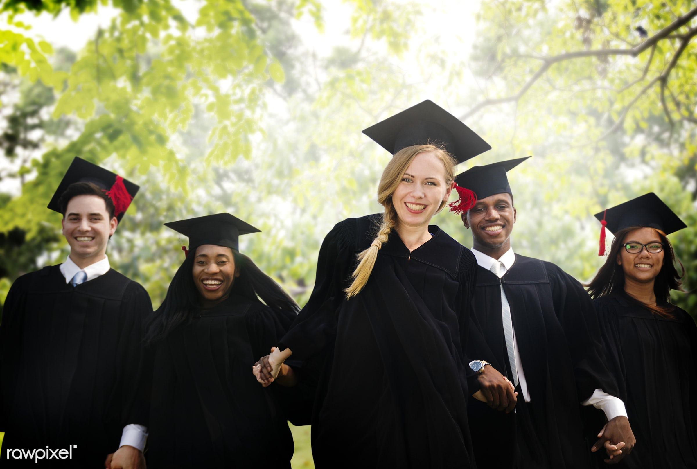 graduation, academic, achievement, african descent, asian ethnicity, campus, celebration, ceremony, certificate, cheerful,...