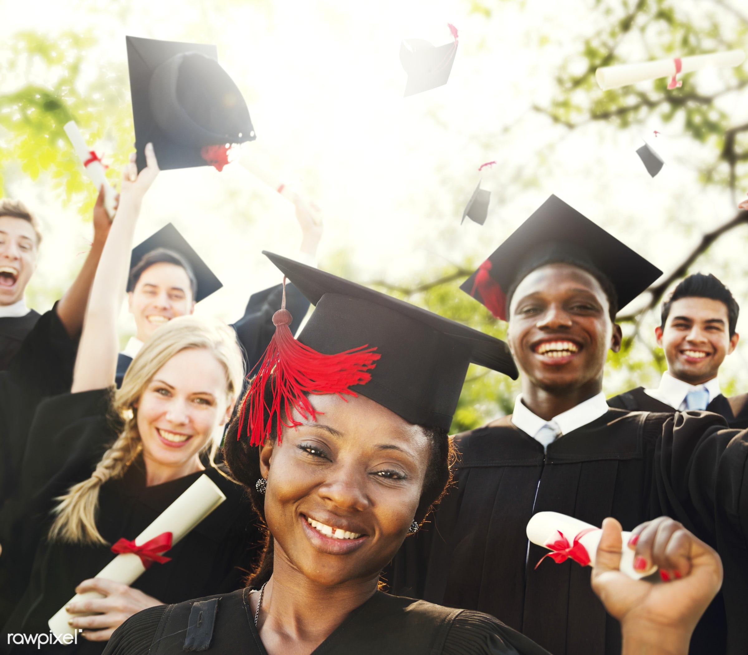 Group of diverse graduating students - achievement, african descent, asian ethnicity, cap, celebration, ceremony,...