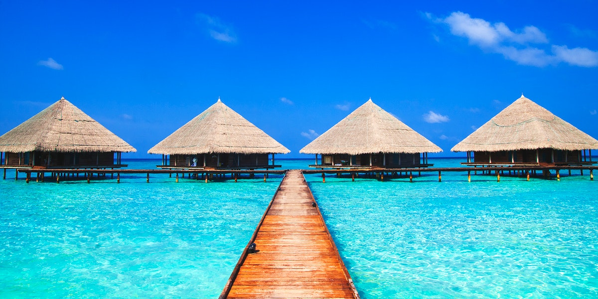 Huts on the blue sea
