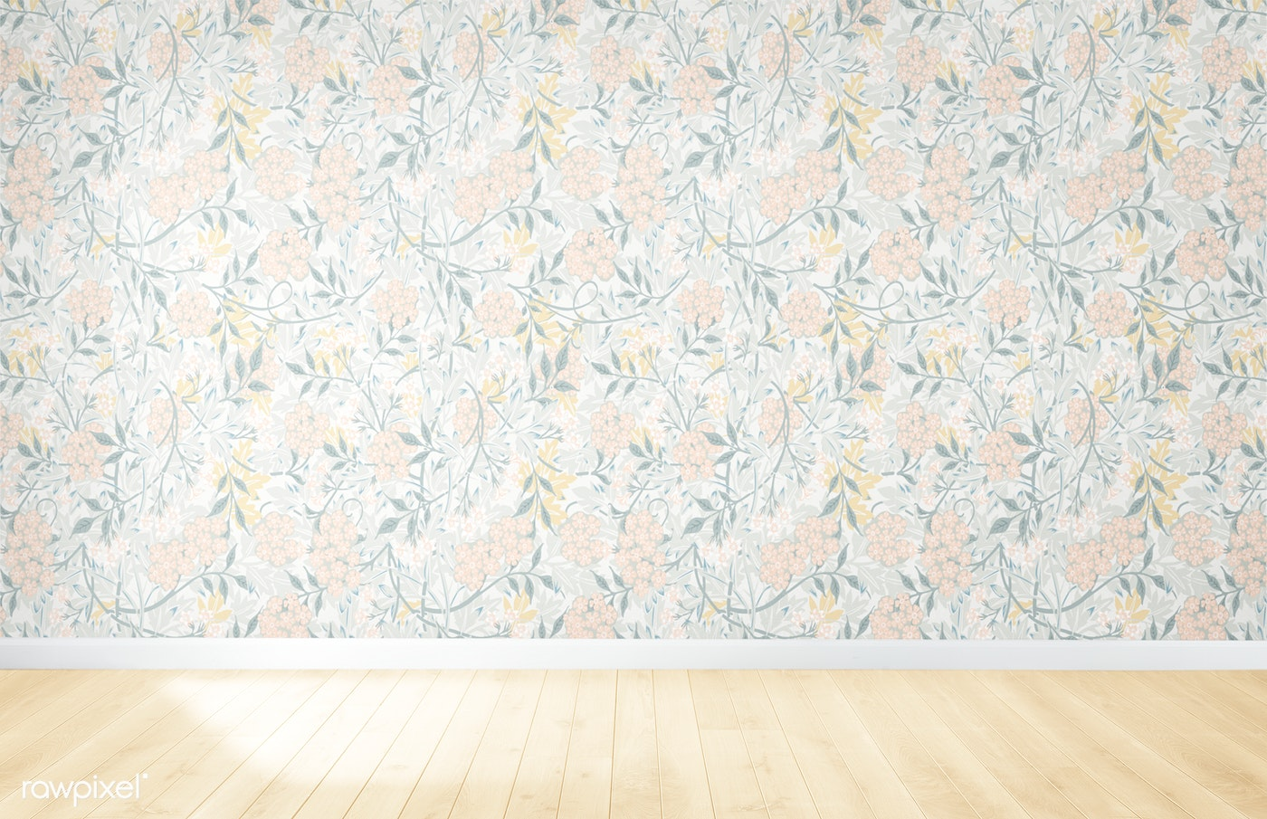 Floral Wallpaper And Wood Flooring Royalty Free Photo 539474