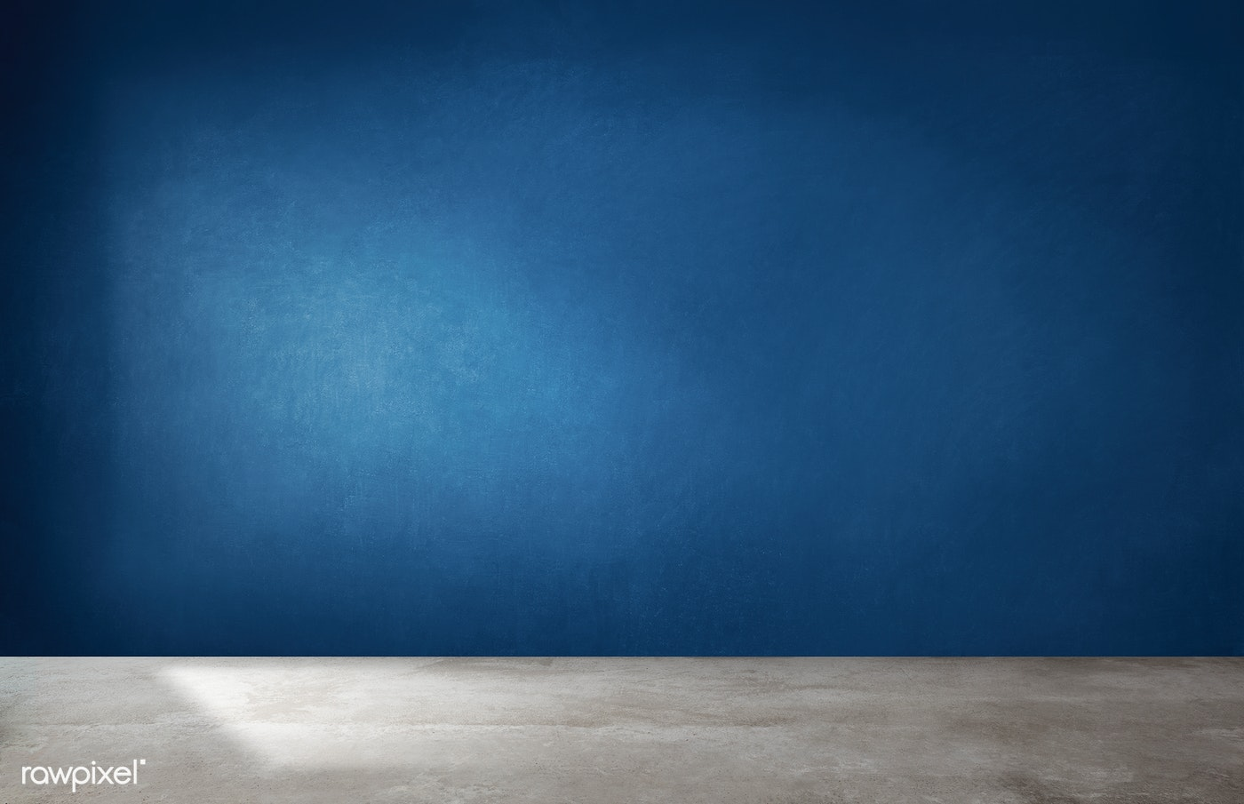 Dark blue wall in an empty room with a concre.. | Royalty ...