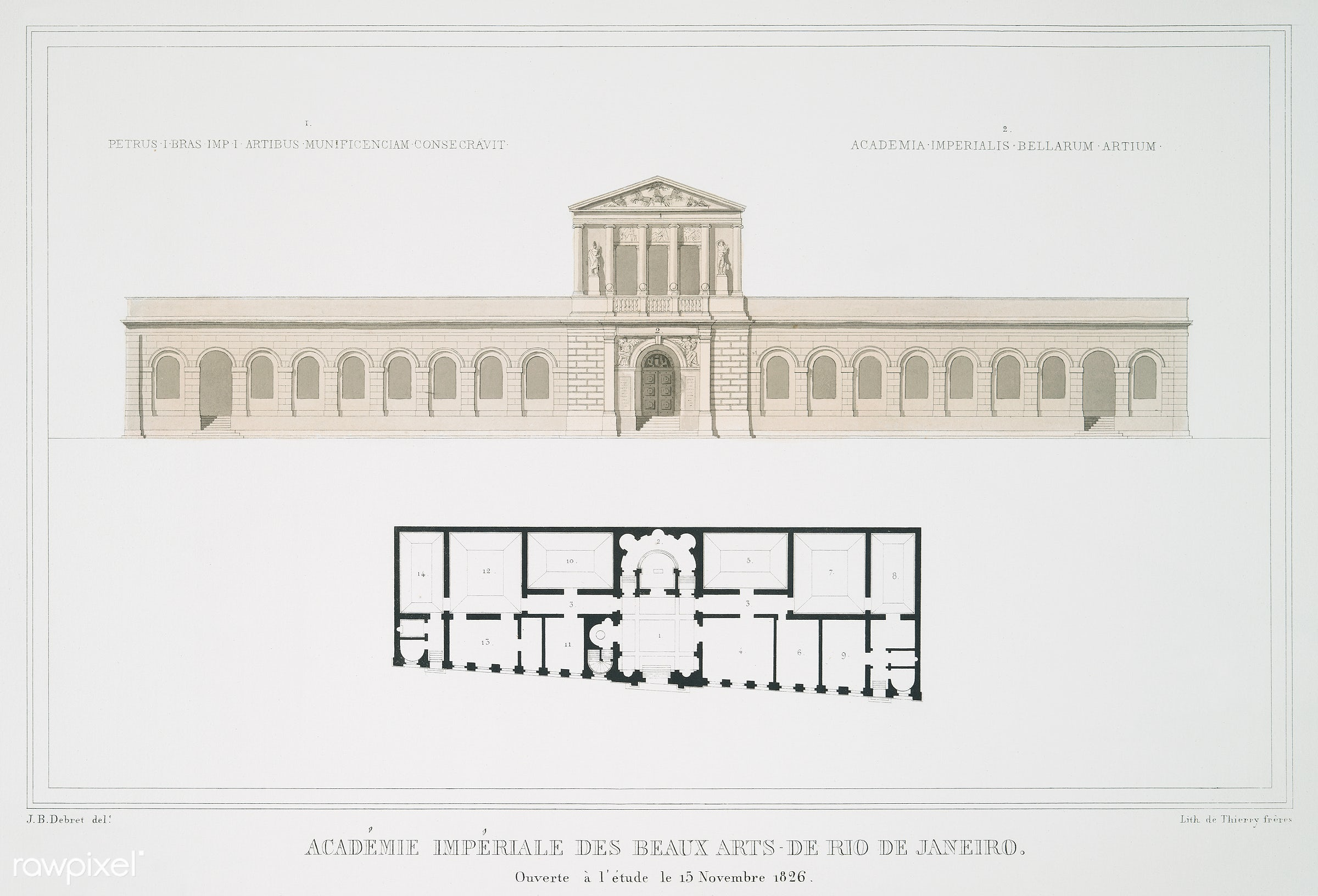 Vintage illustration of Académie impériale de Beaux Arts de Rio de Janeiro published in 1826 by Jean Baptiste...