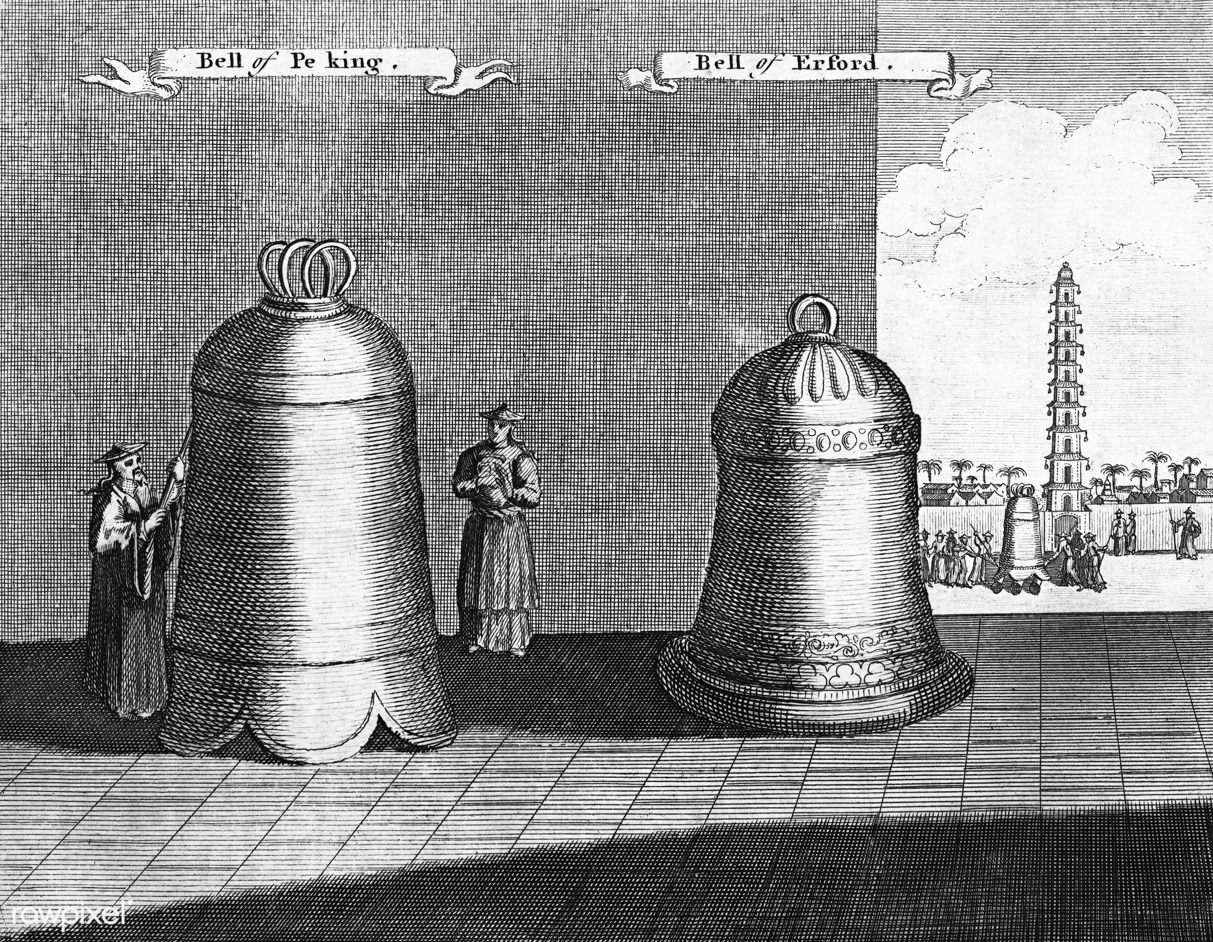 """Vintage illustration of the """"Bell of Pe-king"""" and the """"Bell of Erford"""" published in 1745-1747 by Thomas..."""