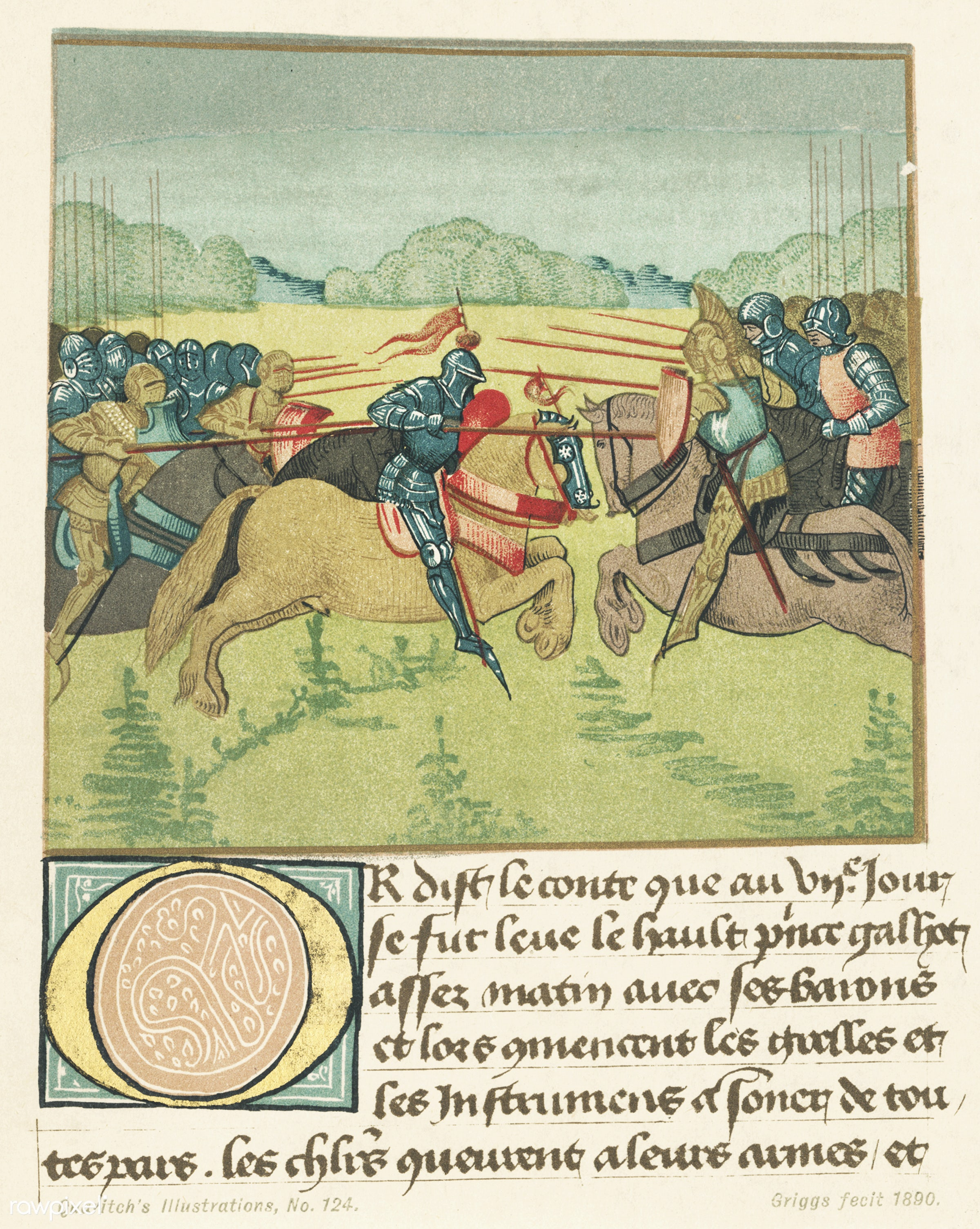 Vintage illustrations of Palamedes in the tournament of Soreloys and Lancelot and Tristan in the tournament at Louvezep...