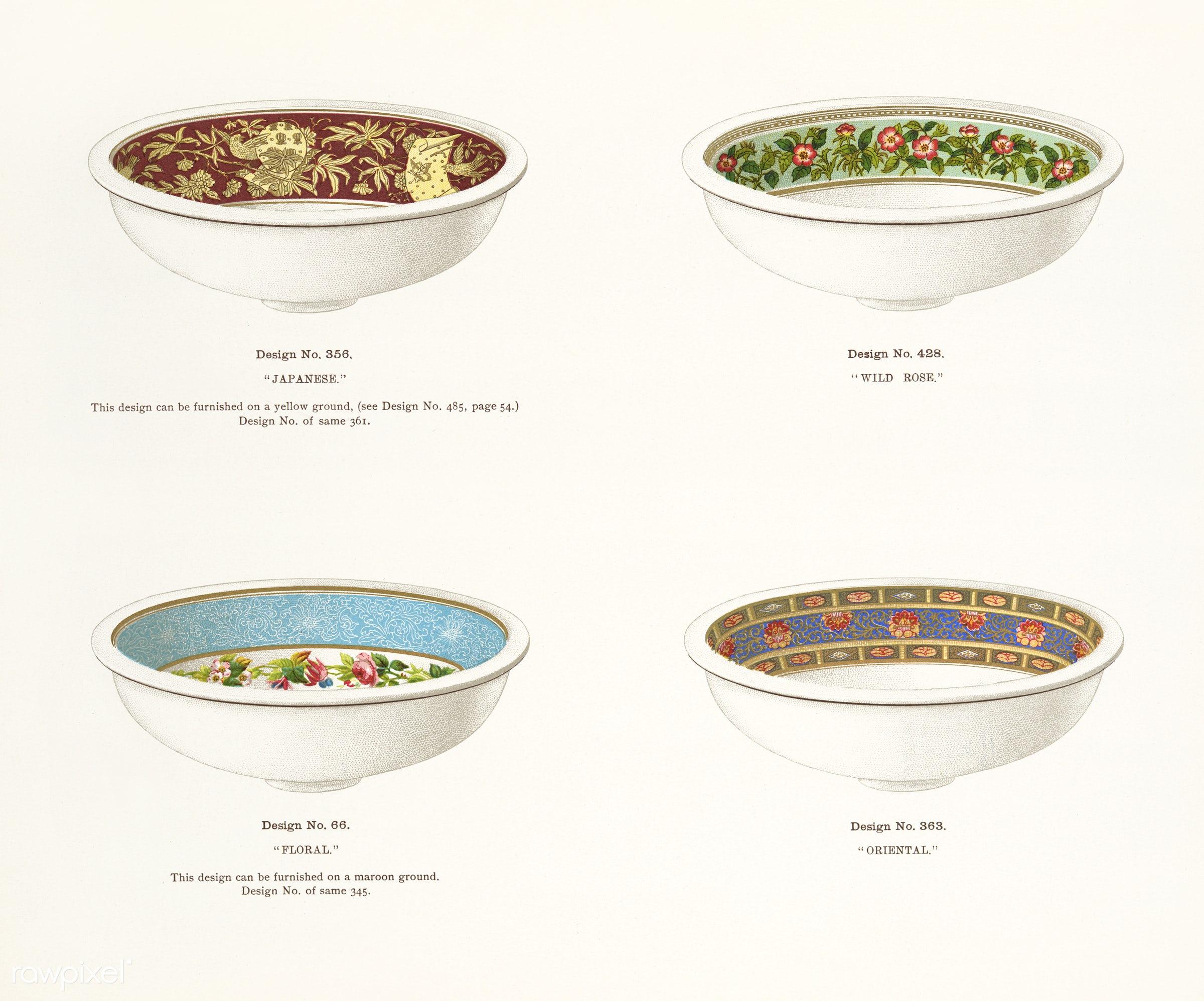 Vintage Illustration of decorated wash basins published in 1884 by J.L. Mott Iron Works. - antique, artwork, basins, cc0,...