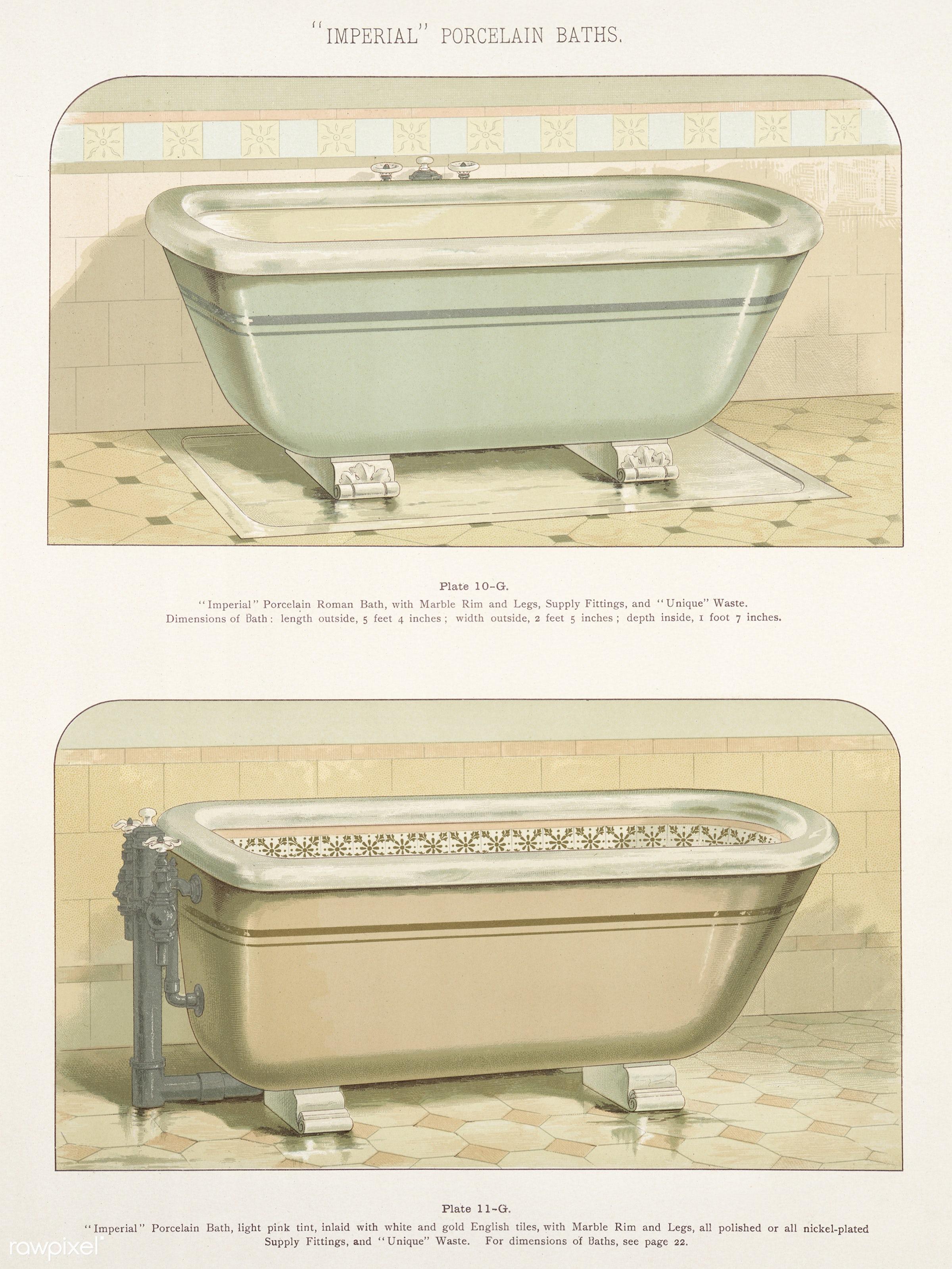 Vintage illustration of imperial porcelain baths published in 1888 by J.L. Mott Iron Works. - antique, artwork, bathroom,...