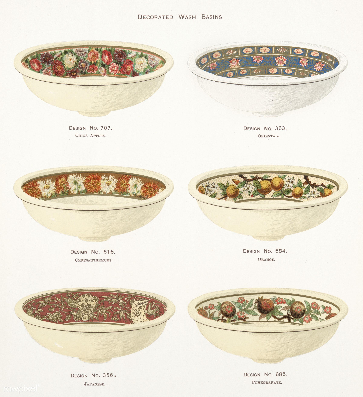 Vintage Illustration of decorated wash basins published in 1884 by J.L. Mott Iron Works. - antique, artwork, basin, bowl,...