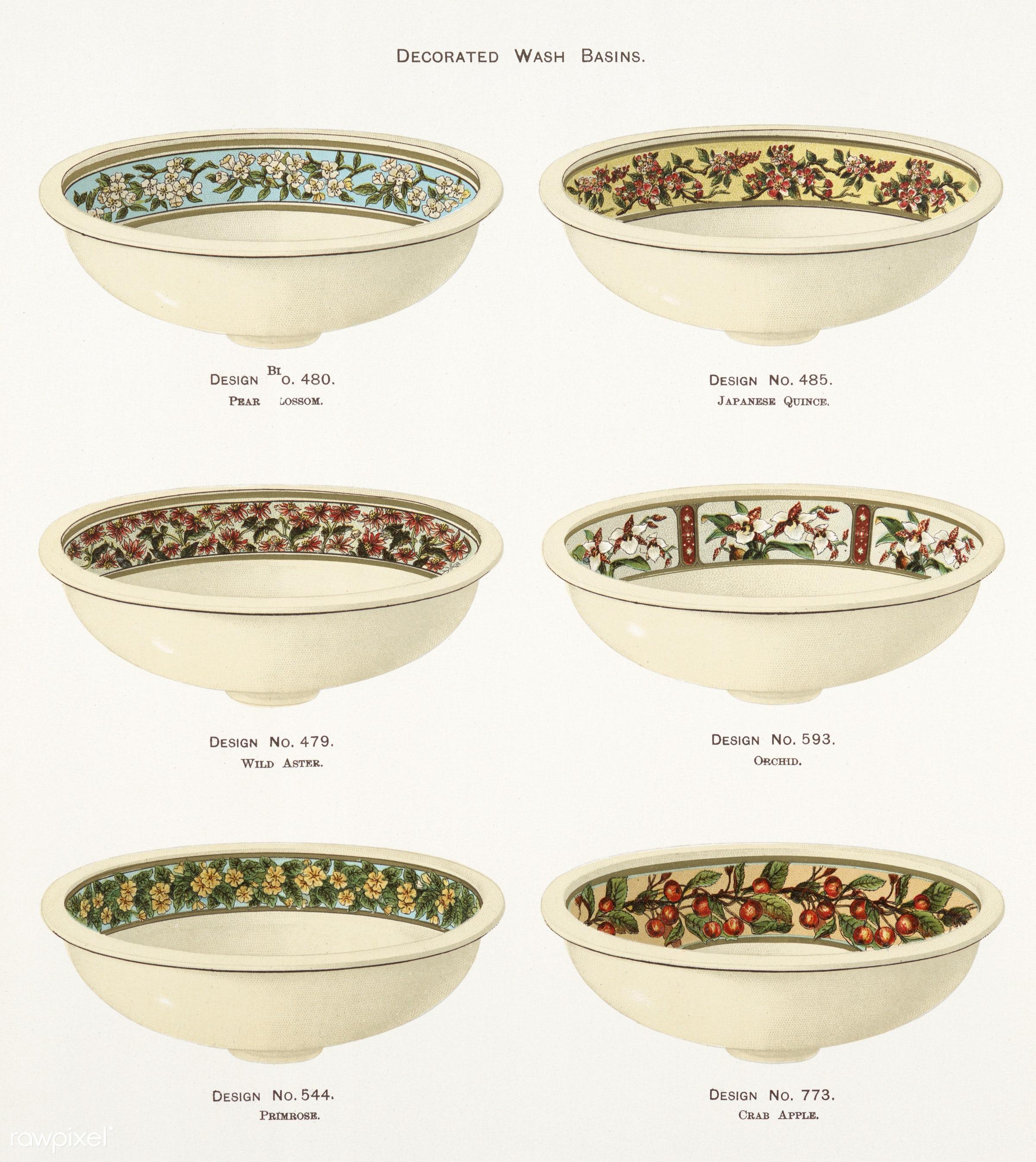 Vintage Illustration of decorated wash basins published in 1884 by J.L. Mott Iron Works. - antique, apple, artwork, basins,...
