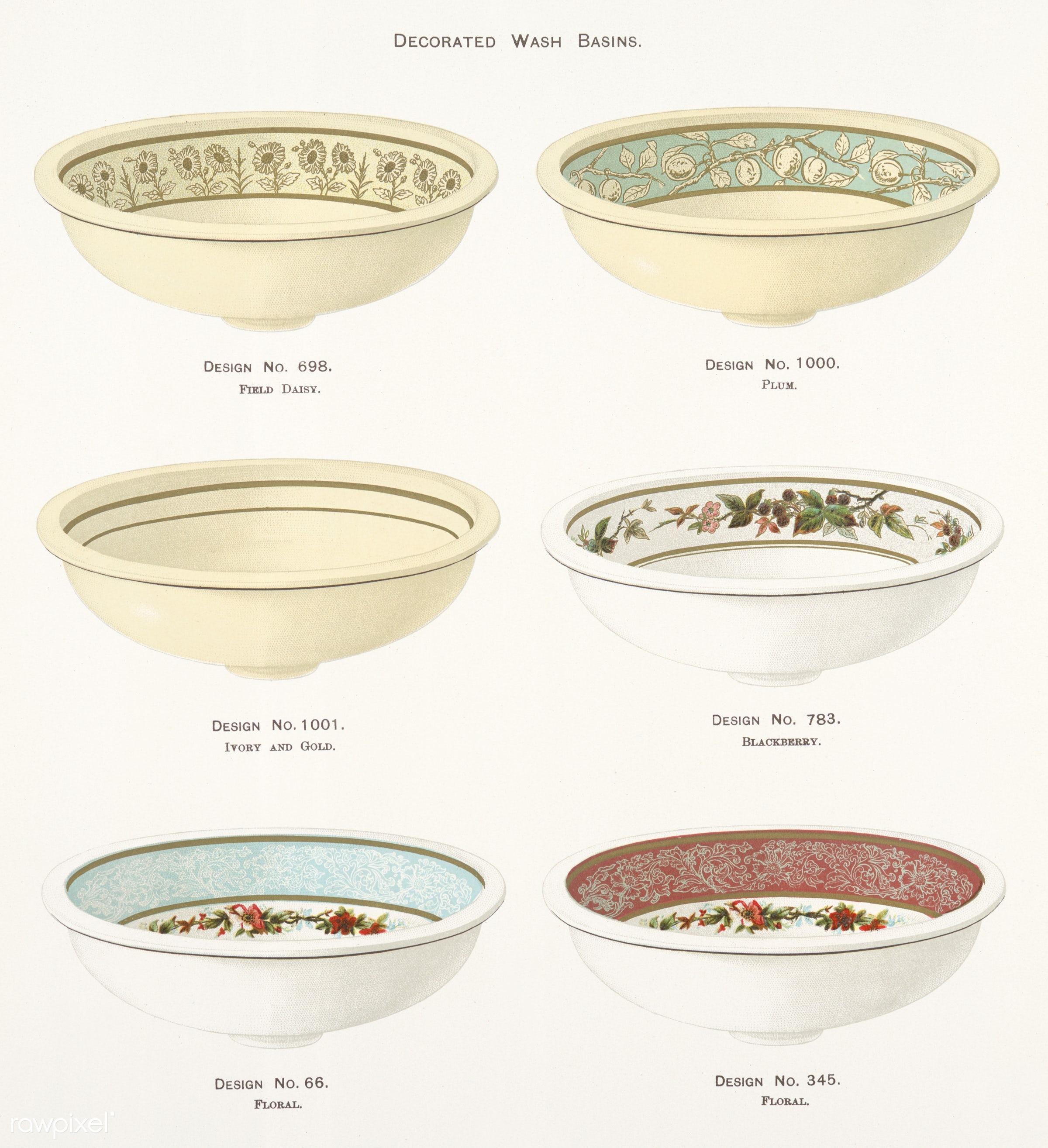 Vintage Illustration of decorated wash basins published in 1884 by J.L. Mott Iron Works. - antique, artwork, basins, bowl,...