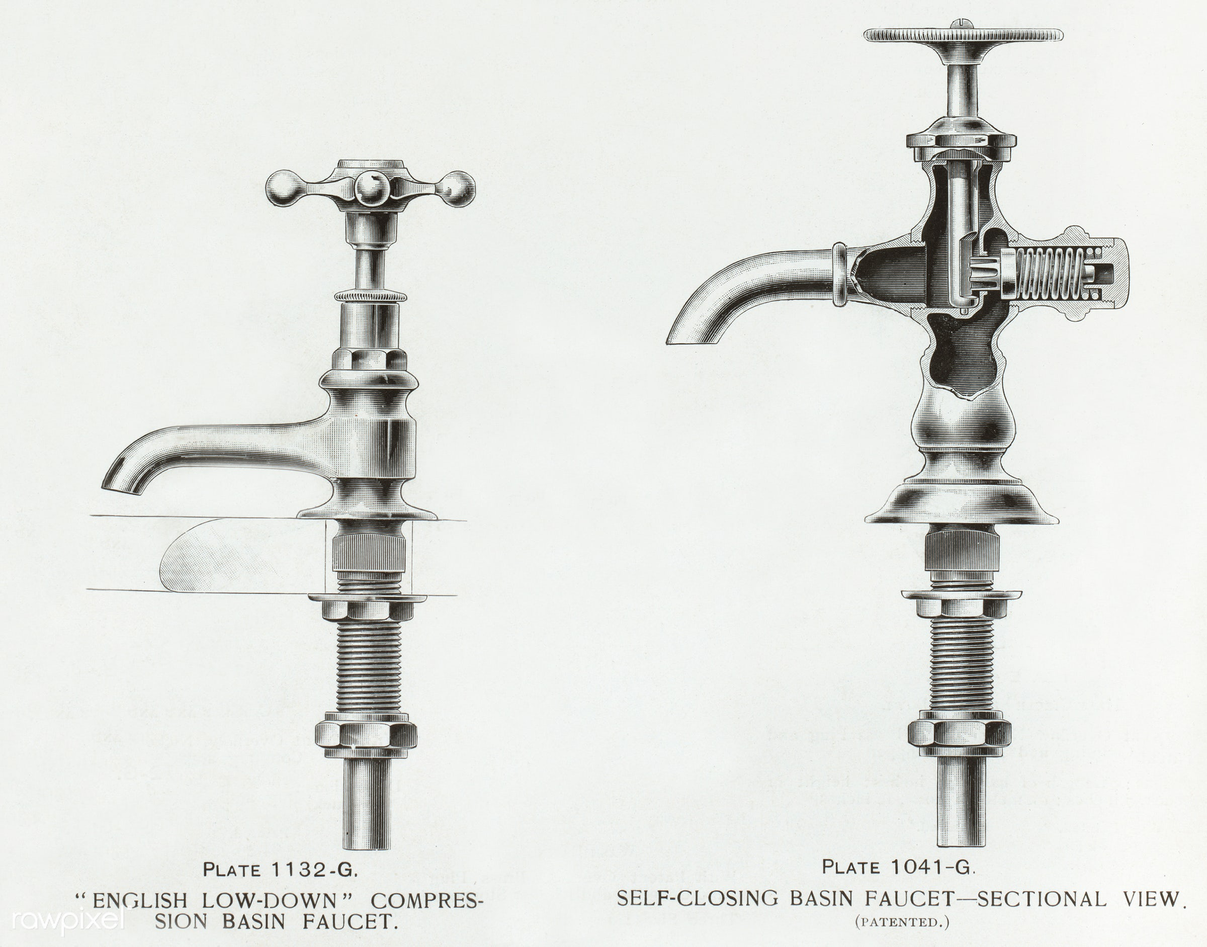 Faucet catalogue published in 1877-1893 by J.L. Mott Iron Works - antique, artwork, basin faucets, cc0, creative common 0,...