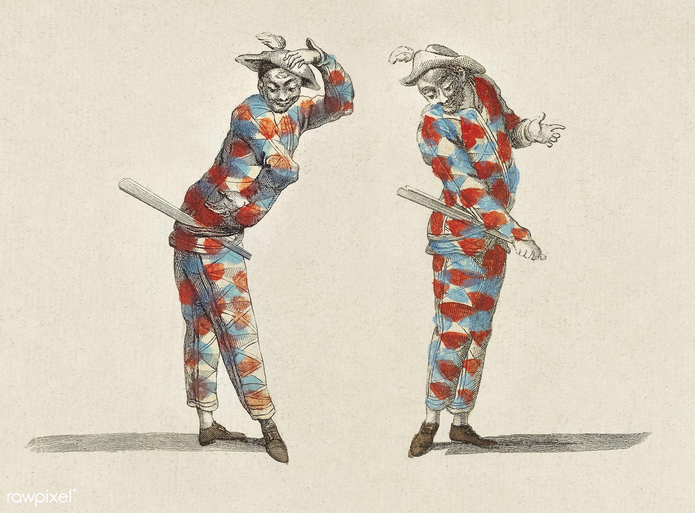 Vintage illustration of Harlequin published in 18th century. - actor, african, antique, artist, artwork, cc0, clown,...