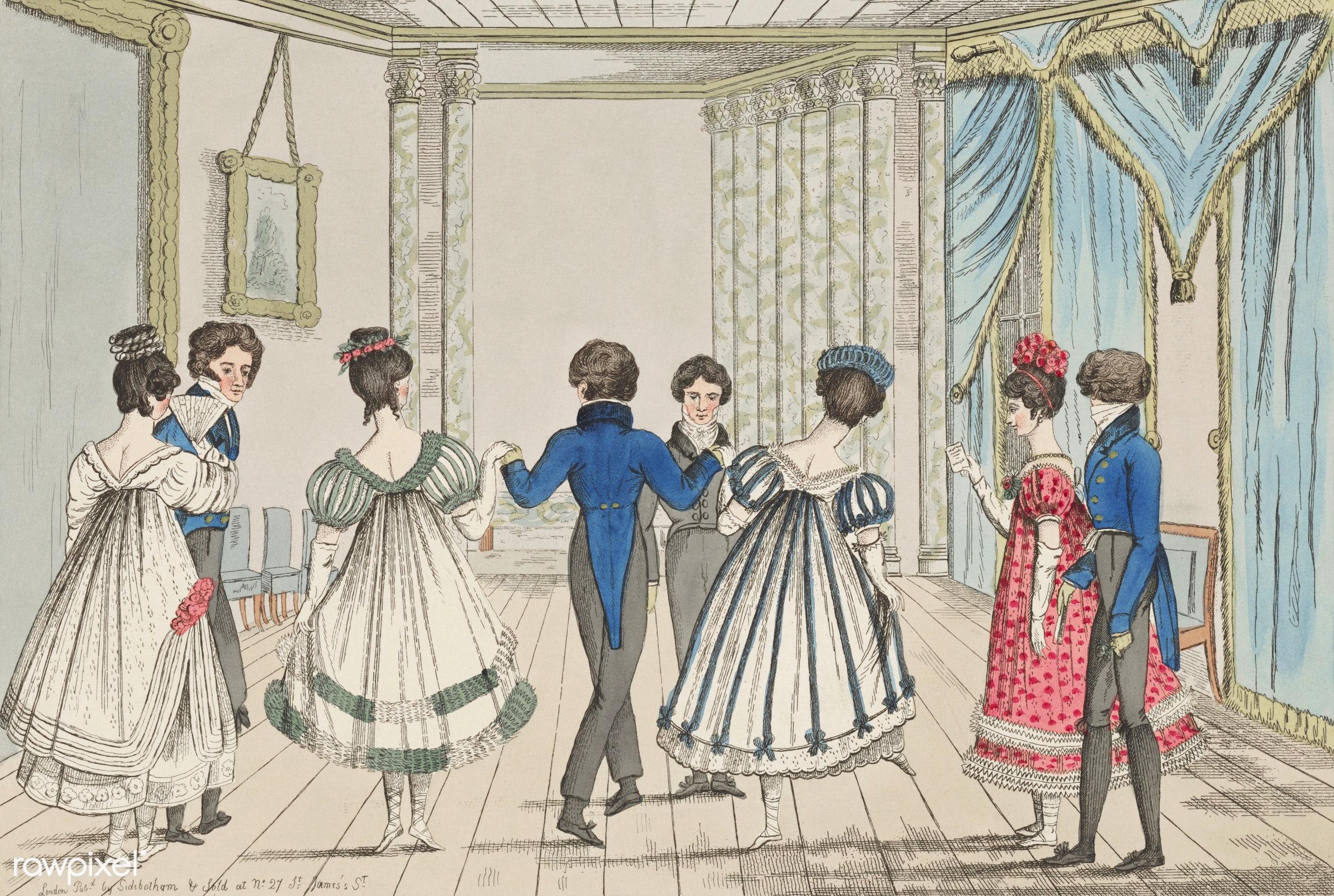 Vintage illustration of Quadrilles published in 1820-1820 by Sidebotham. - antique, artwork, ball, ballroom, cc0, couples,...