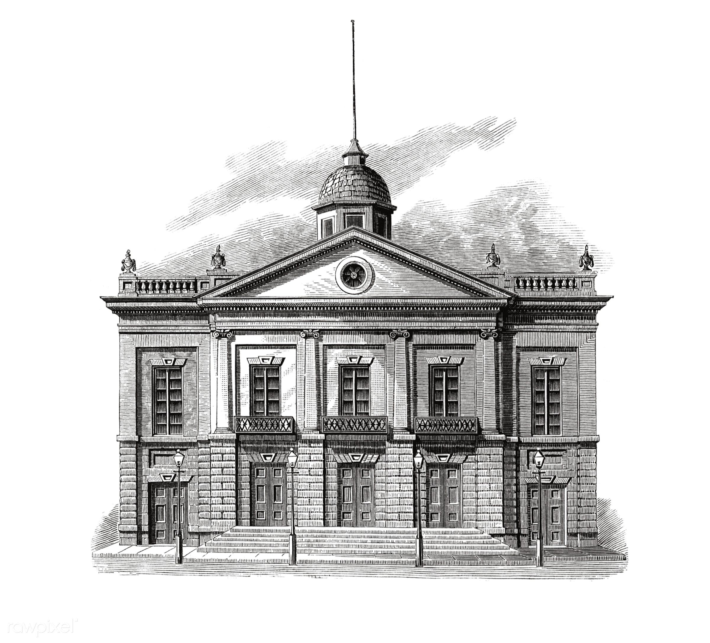 "Antique prints ""Lafayette Theatre"" (1825) by William Leete Stone(1792-1844). - antique, architecture, artwork,..."