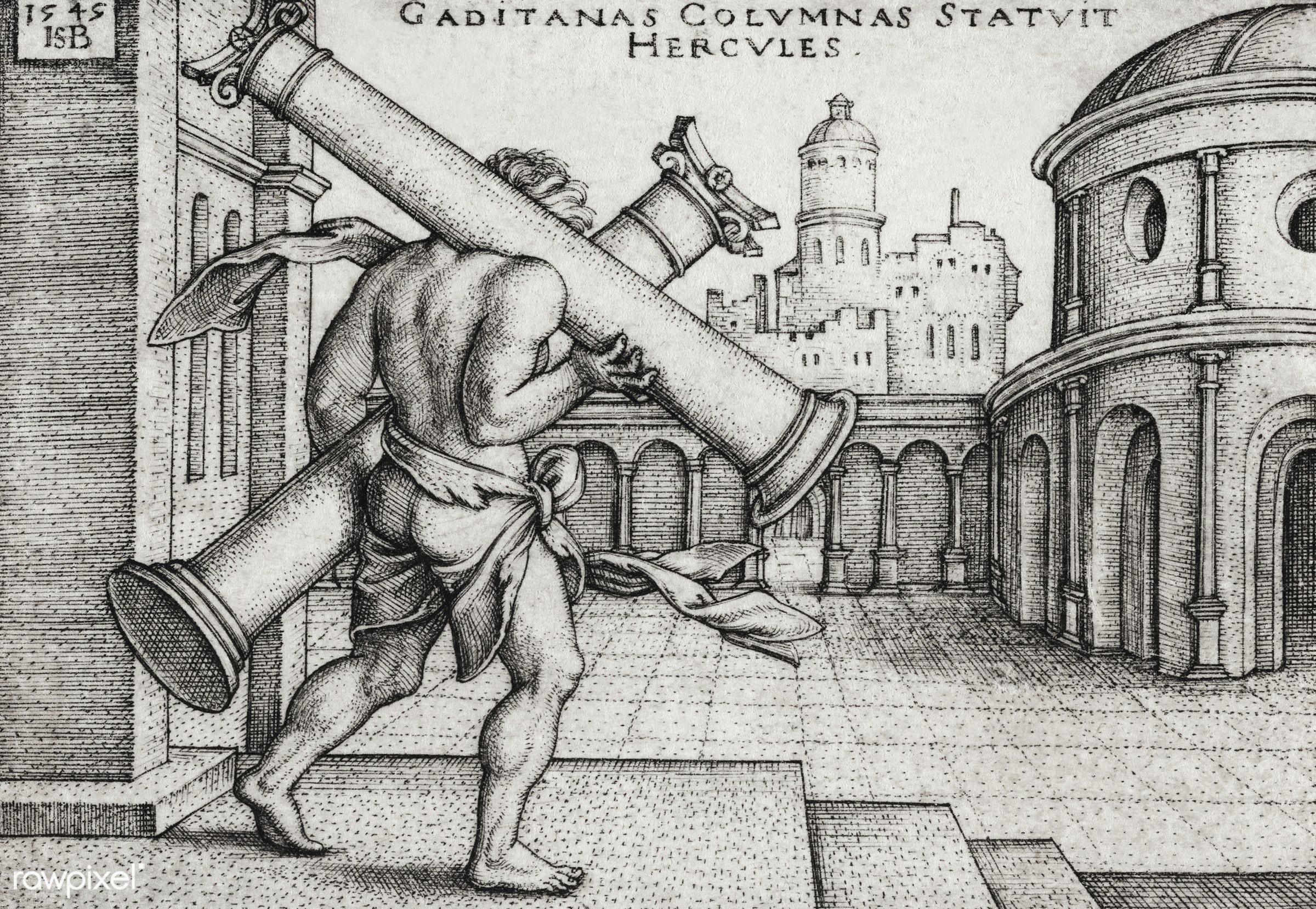 Vintage illustration of Hercules and the Columns of Gaza published in 1545 by Hans Sebald Beham (1500-1550) - antique,...