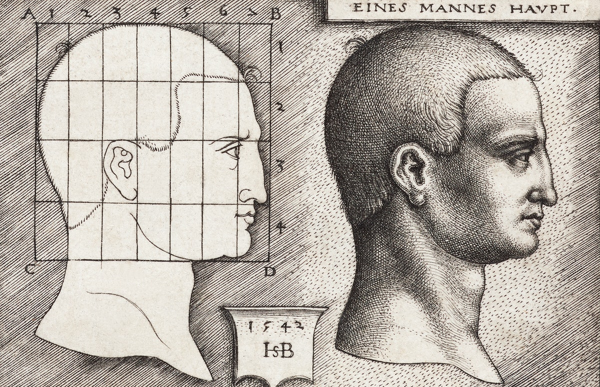 Vintage Illustration Profile Study of Man's Head published in 1542 by Hans Sebald Beham (1500-1550). Original from New York…