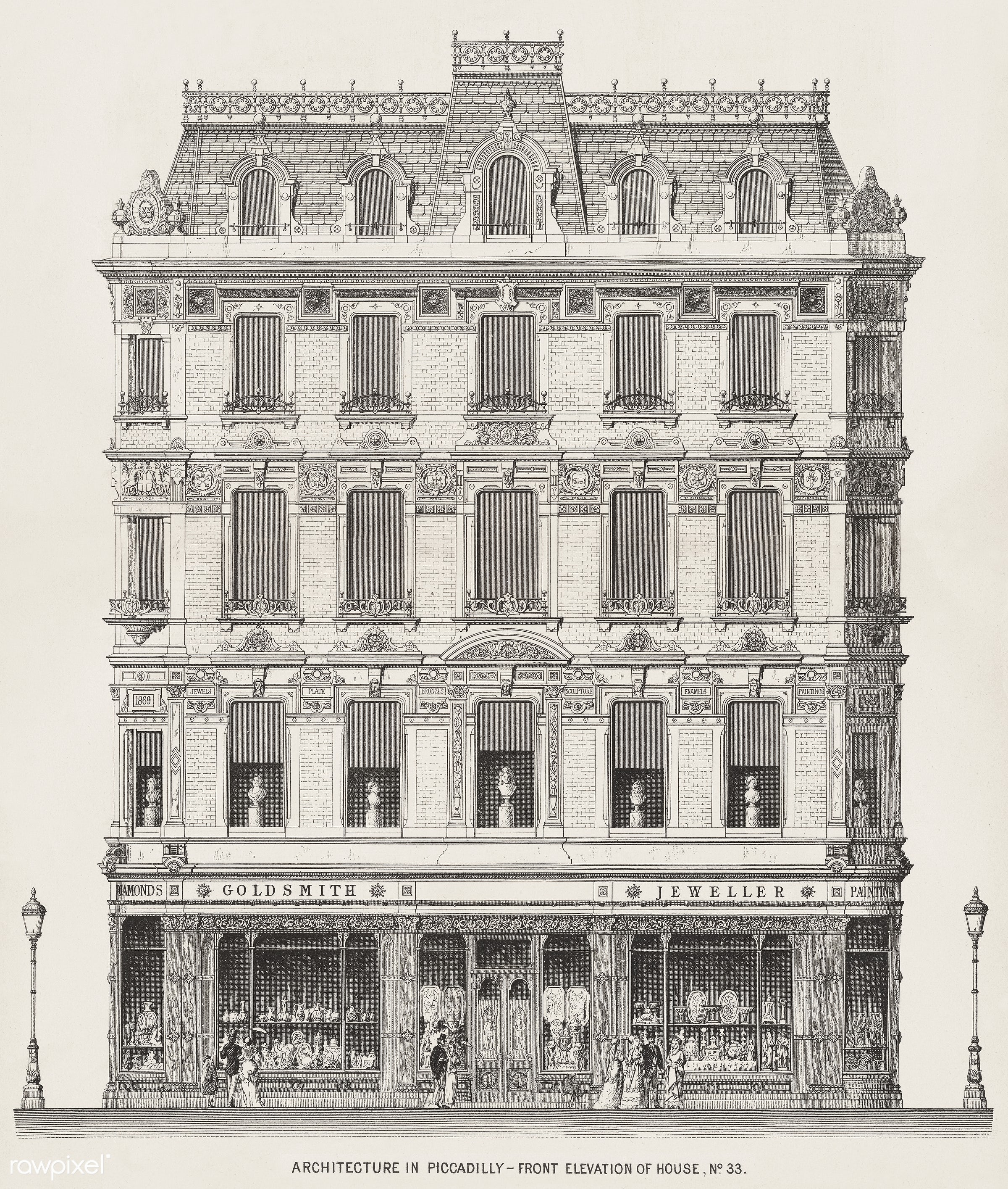 Vintage illustration of Architecture in Piccadilly published in 1870 by Arthur Cates (1829-1901). - antique, architect,...