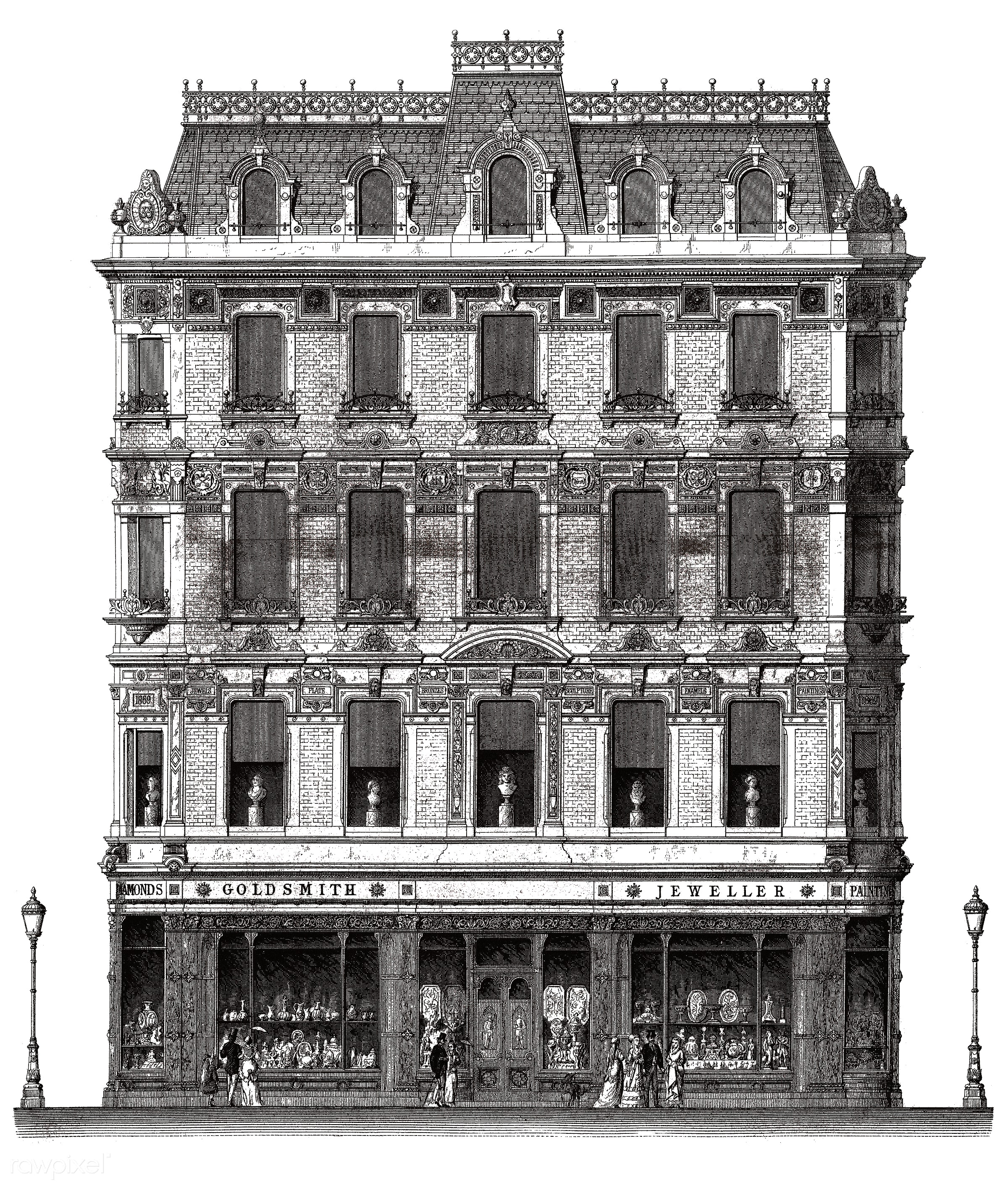 Vintage illustration of Architecture in Piccadilly published in 1870 by Arthur Cates (1829-1901). - london, antique,...