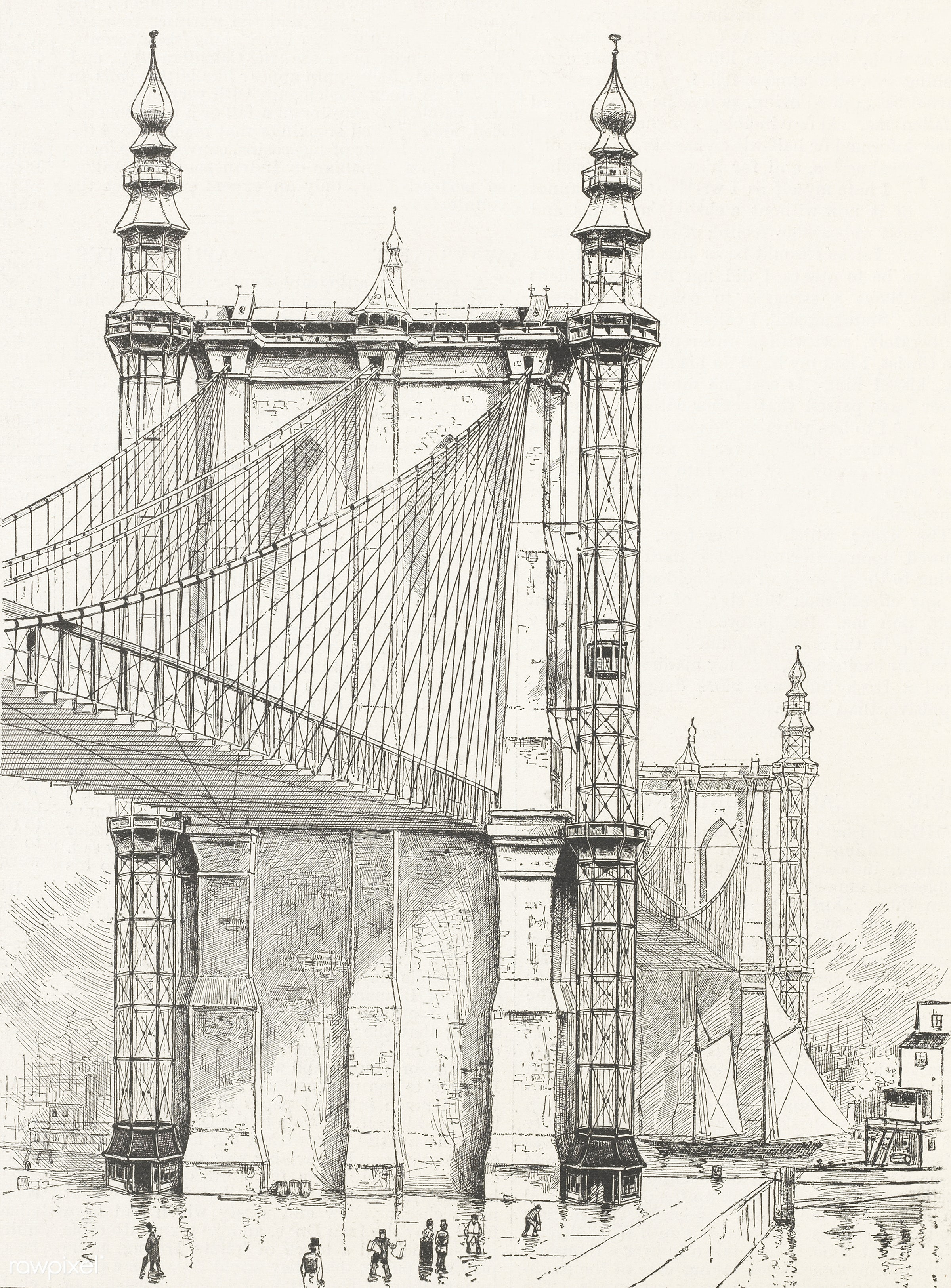 Antique illustration of the Brooklyn Bridge towers published in 1886 by Frank Leslie (1821-1880). - america, antique,...