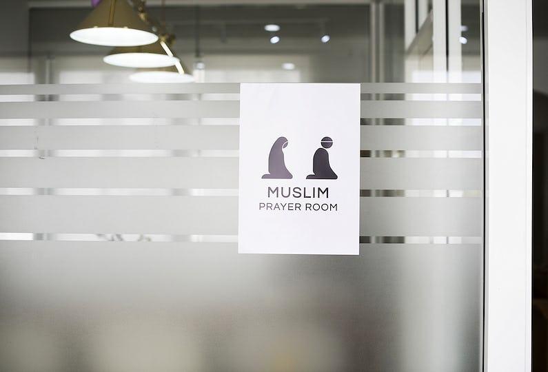 A Muslim prayer room