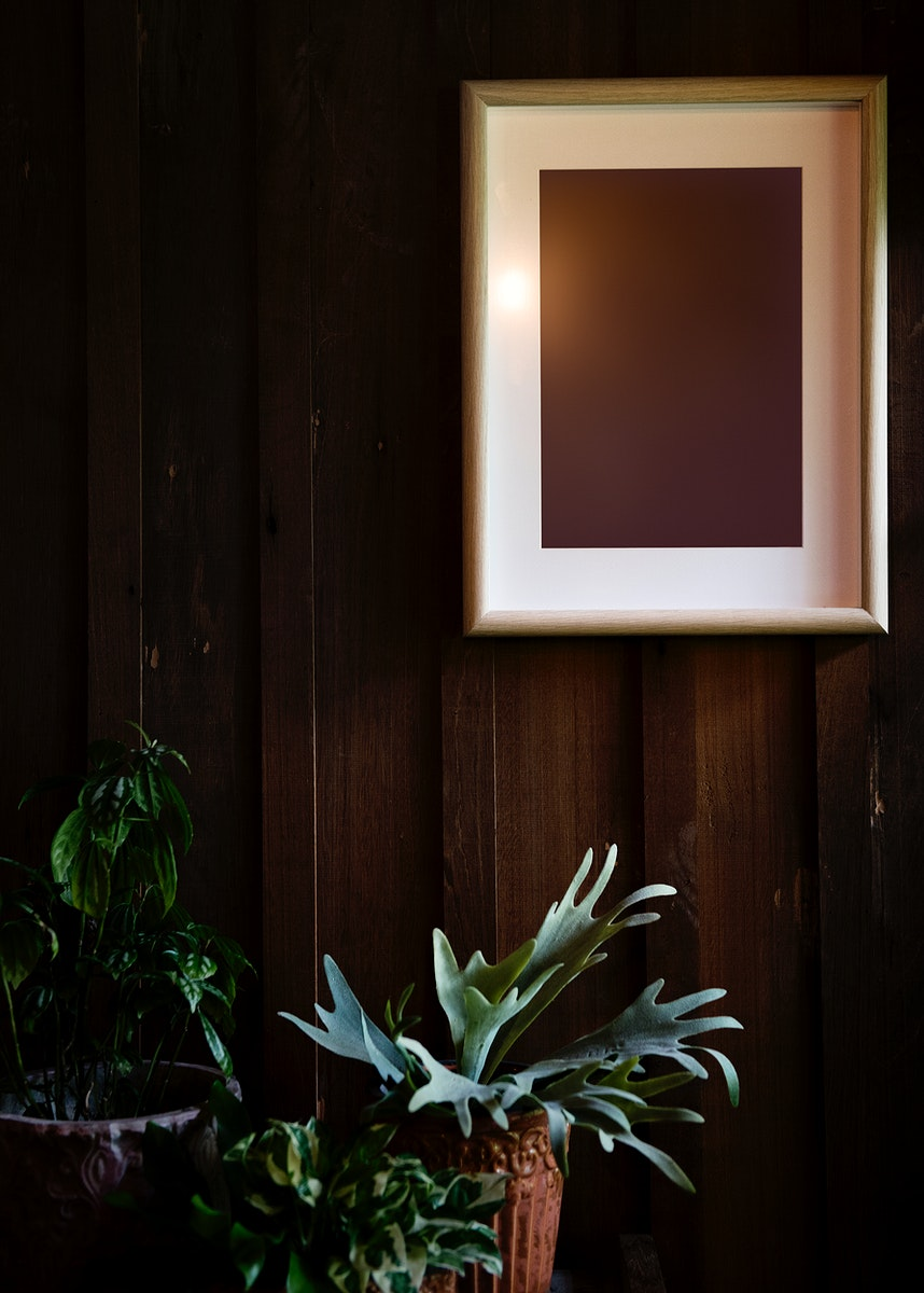 Retro design space photo frame on wooden wall