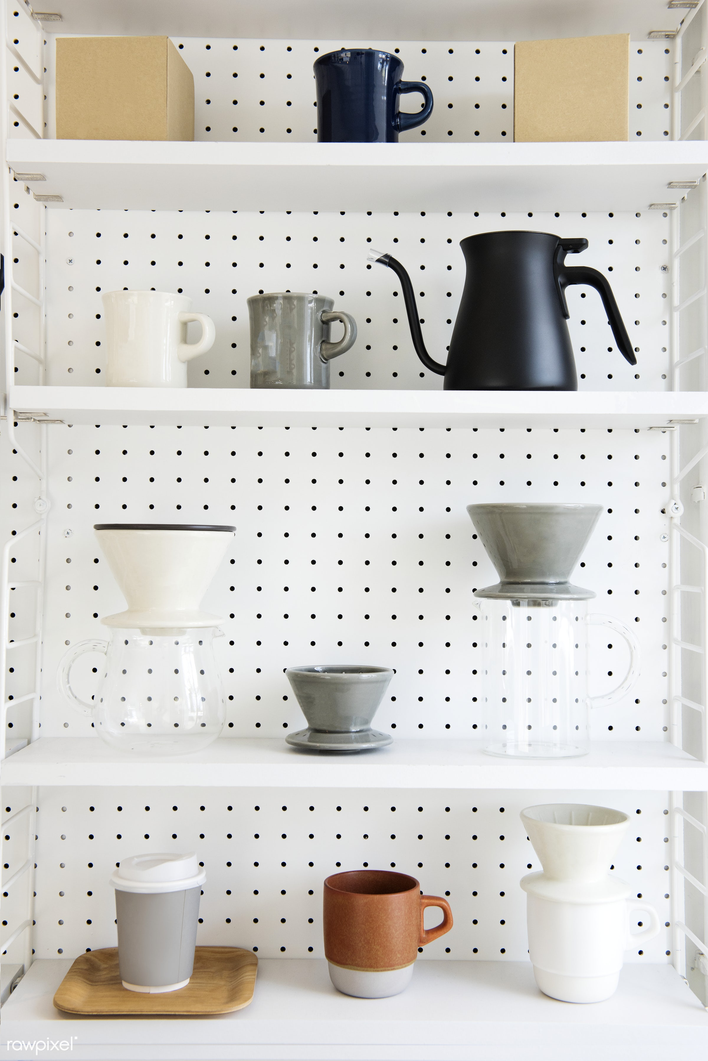 Coffee maker collection set - beverage, coffee, coffee drip, collection, cup, drink, drip, equipment, jar, jug, set, show,...