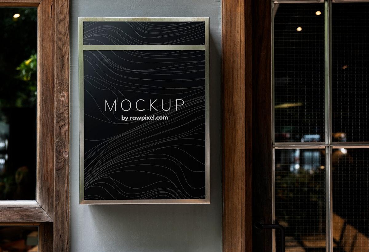 Black restaurant signboard design mockup