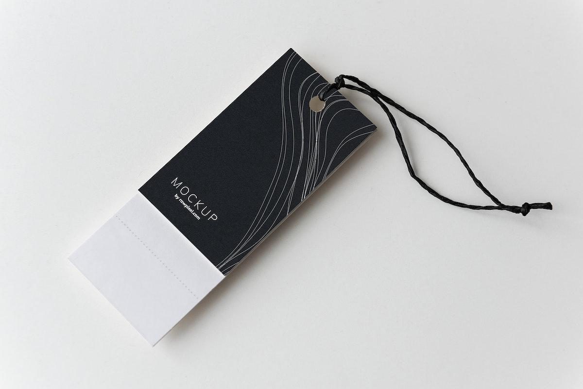 Black price tag design mockup