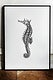 Photo frame mockup with a seahorse drawing