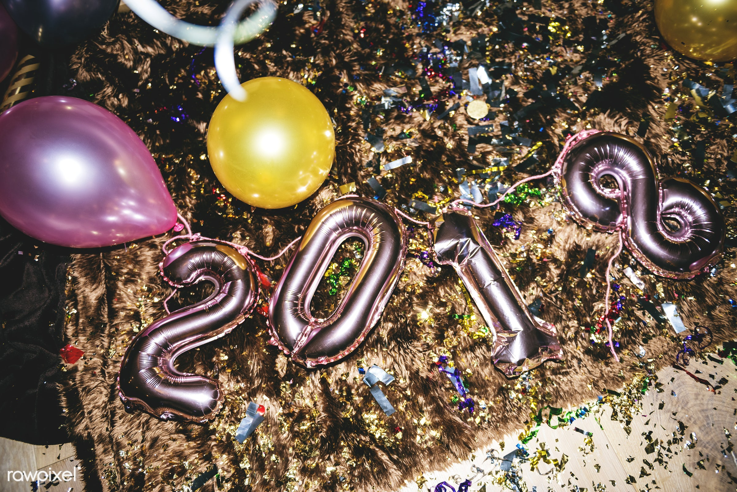New year party decorationd - 2018, balloons, celebrate, celebration, confetti, decorate, decoration, event, festive, floor,...