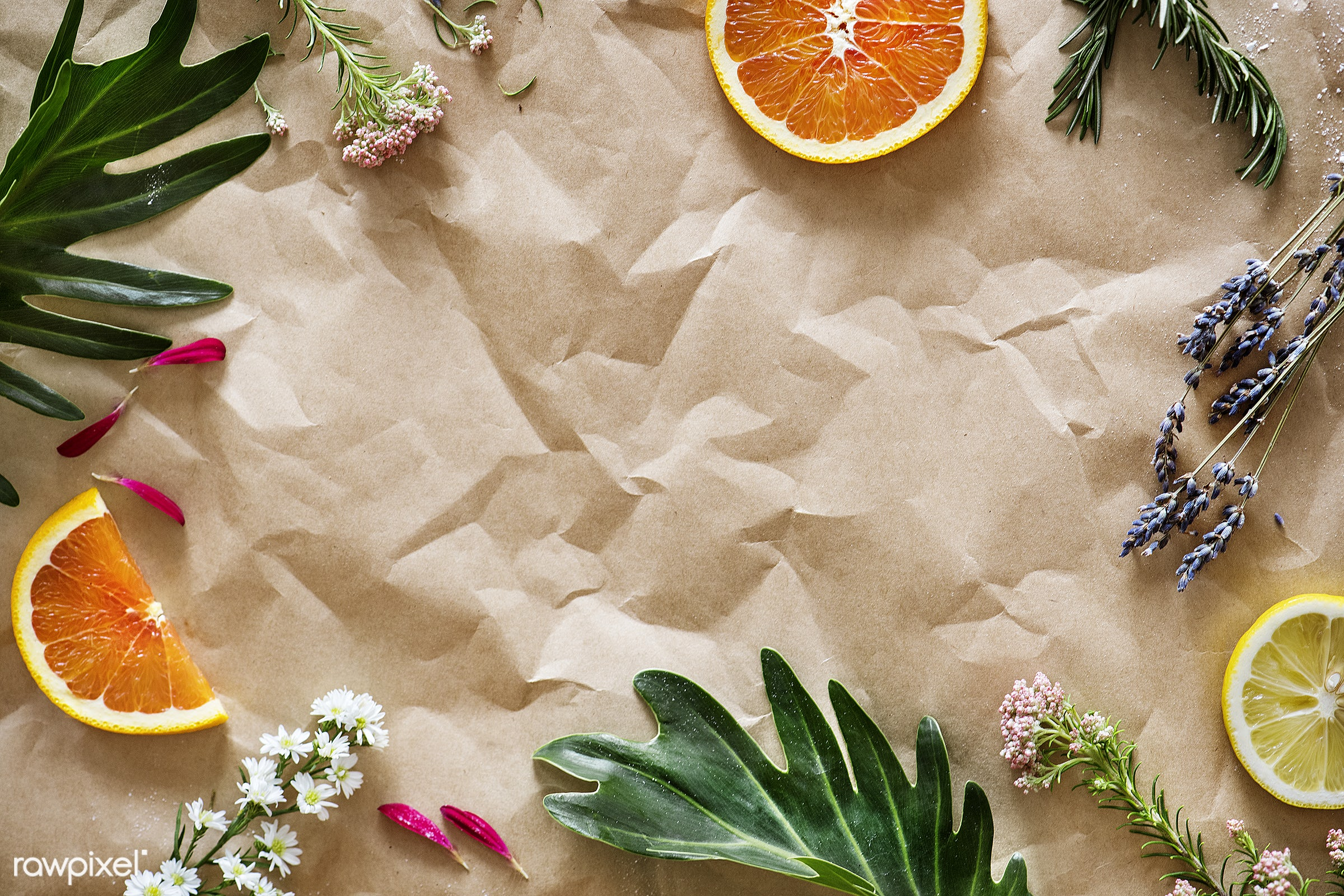 Assortment of tropical citrus fruits background - flat lay, background, summer, flower, creative, copy space, wallpaper,...
