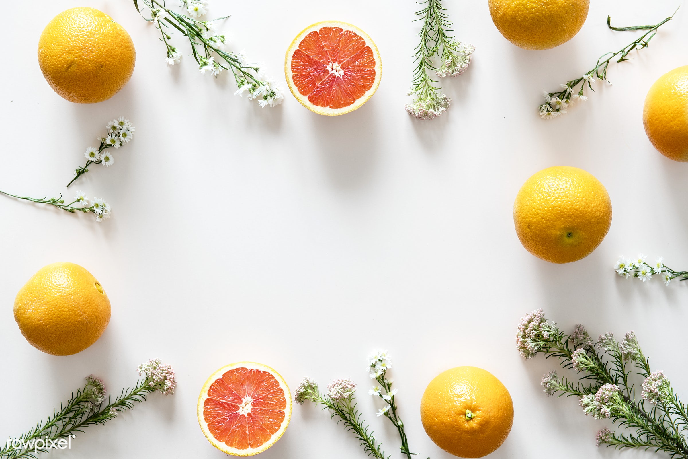 Assortment of tropical citrus fruits background - summer, fruit, plant, nature, flat lay, citrus, blank space, tropical,...