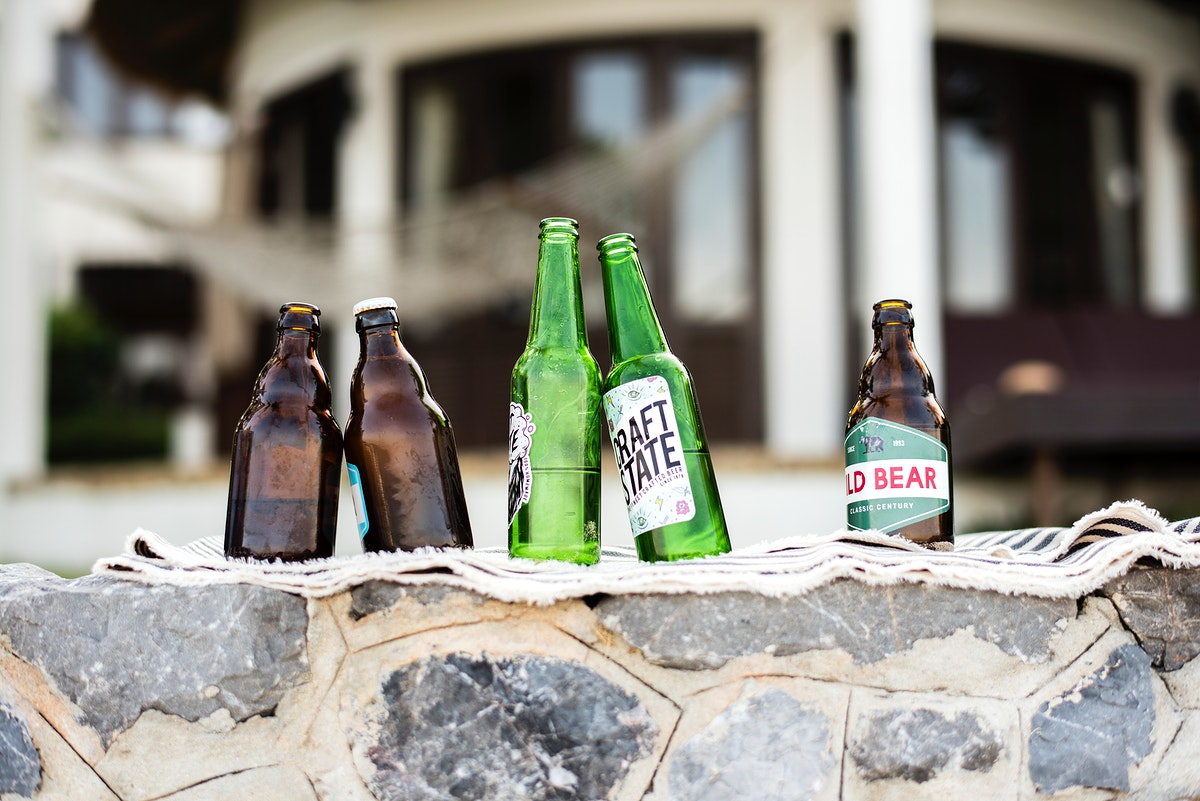 Beer bottles in front of a house