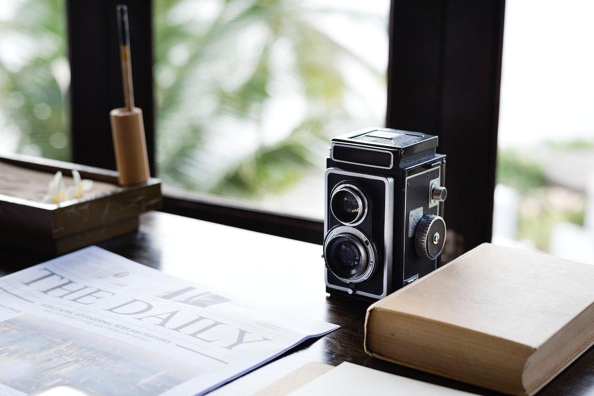 Vintage analog camera on a desk