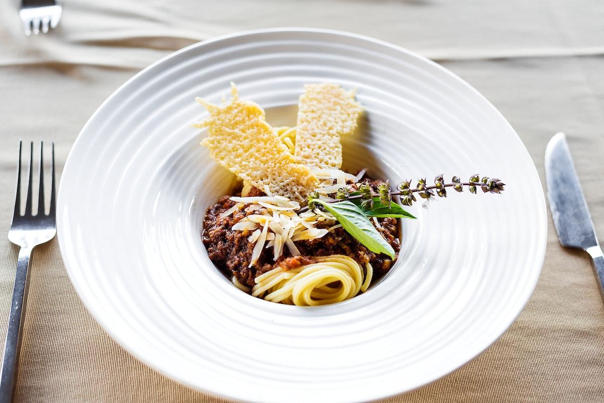 Closeup of spaghetti bolognese recipe