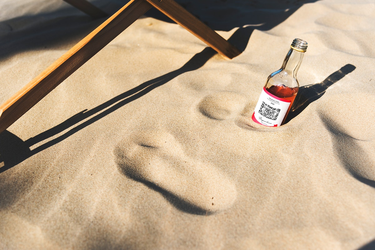 Alcoholic drink in the sand