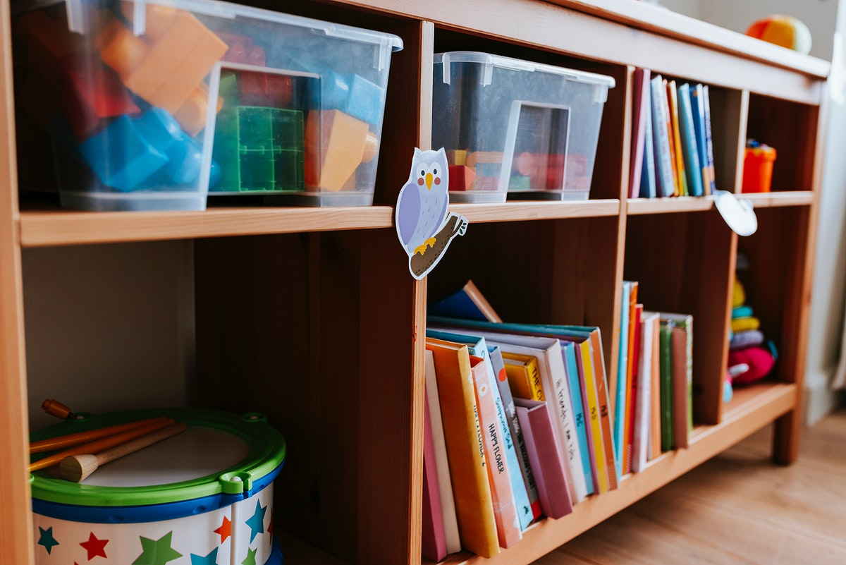 Shelves of toys and books in a nursery school