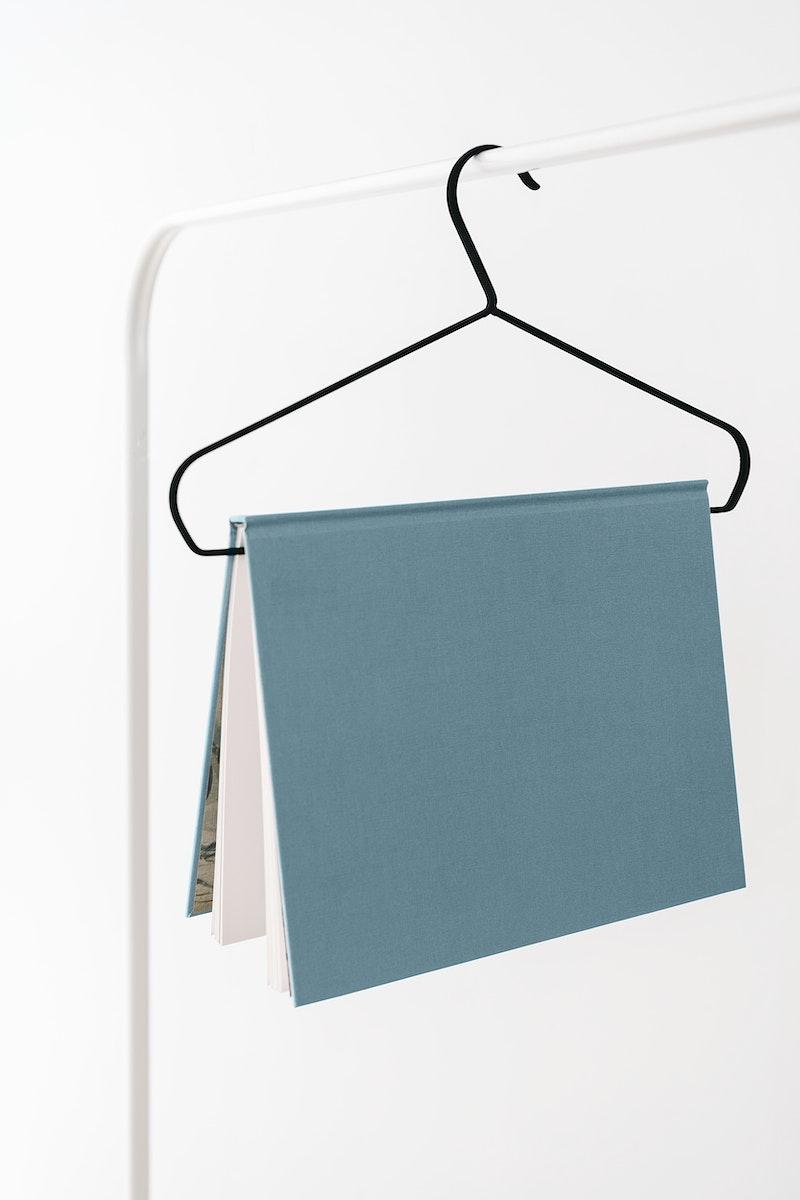 Book mockup hanging on a hanger