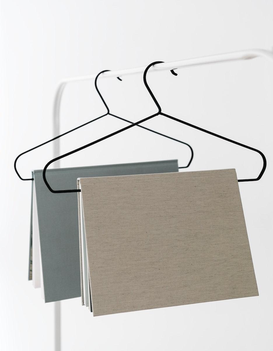 Books mockup hanging on a hanger