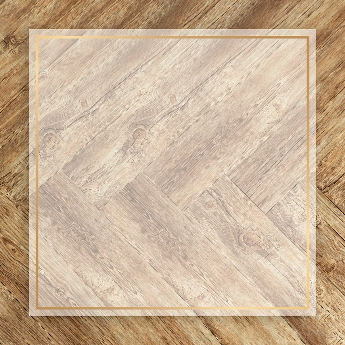 Blank golden square frame on a wooden background