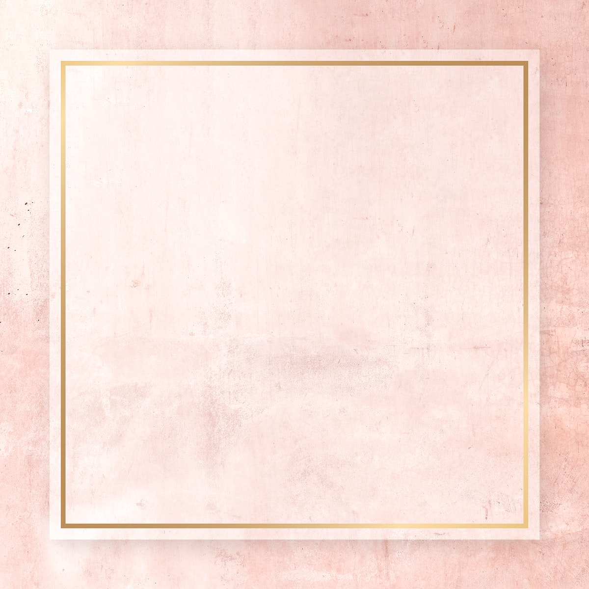 Blank golden frame on a pink background