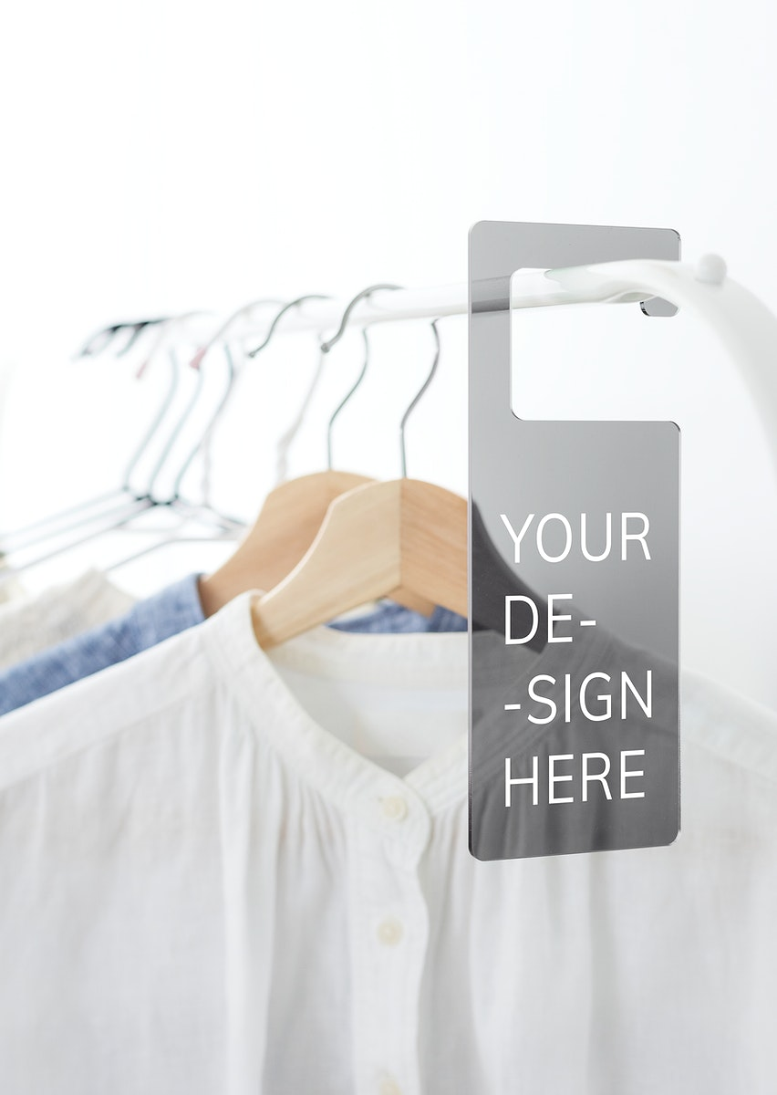 Shirt on a clothing rack with a tag mockup