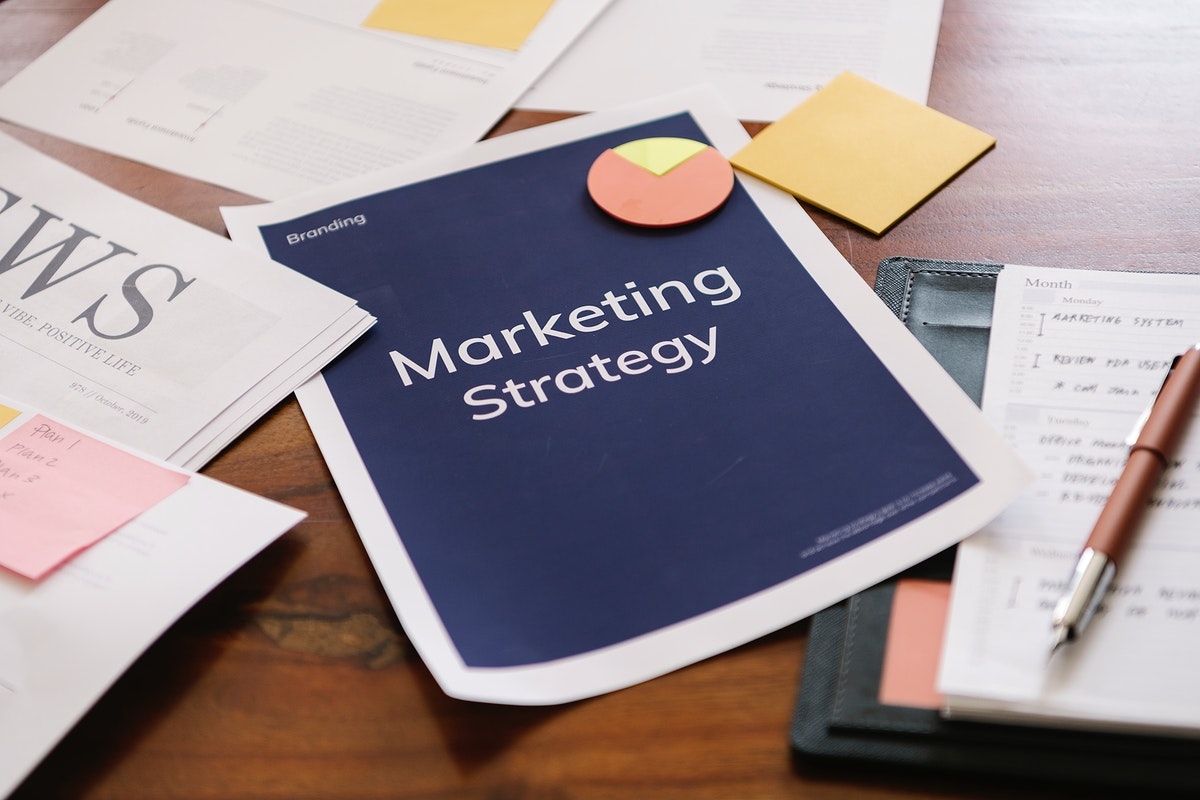 Marketing strategy report on a desk