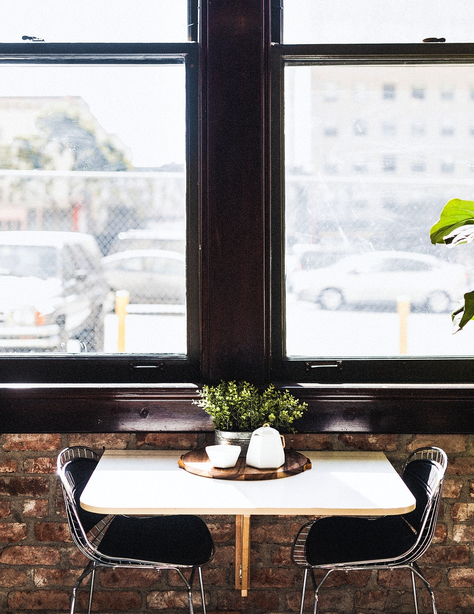 Dining table by the window at a restaurant