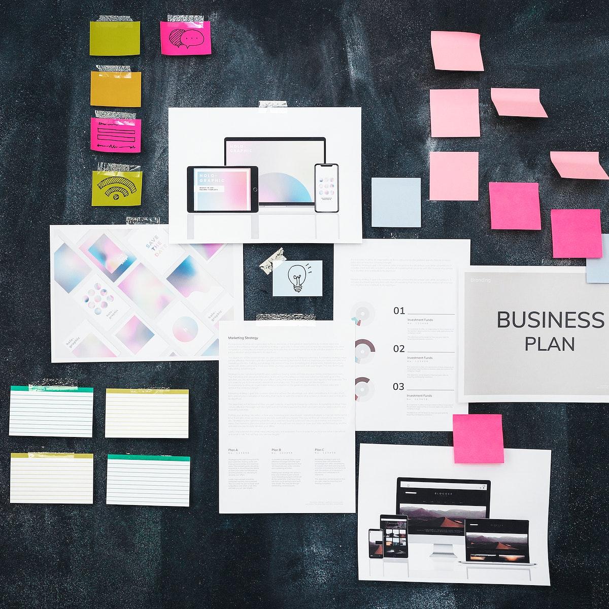 Business plan on a blackboard social ads template