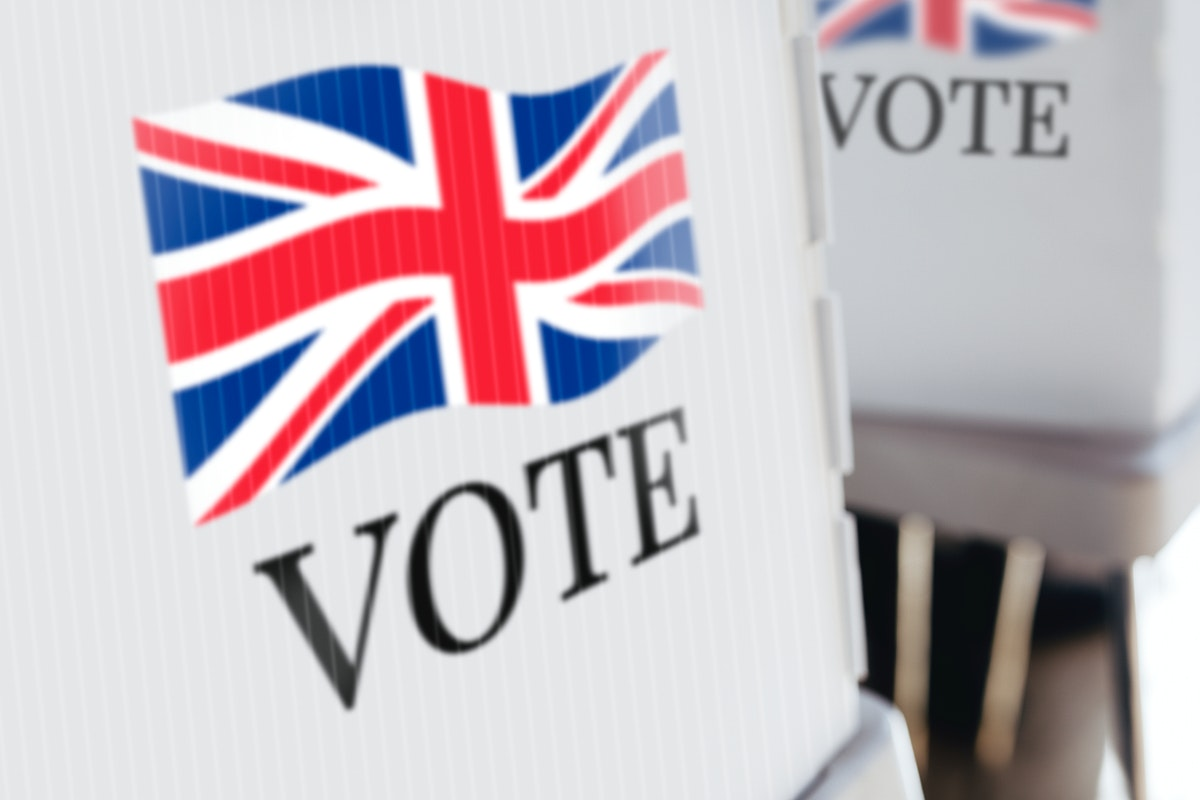 The United Kingdom flag printed on a polling booth