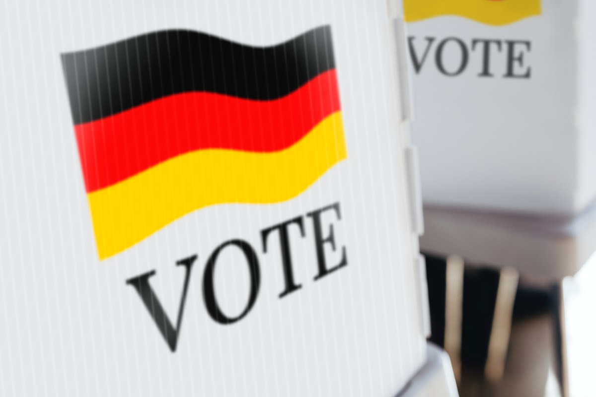 German flag printed on a polling booth