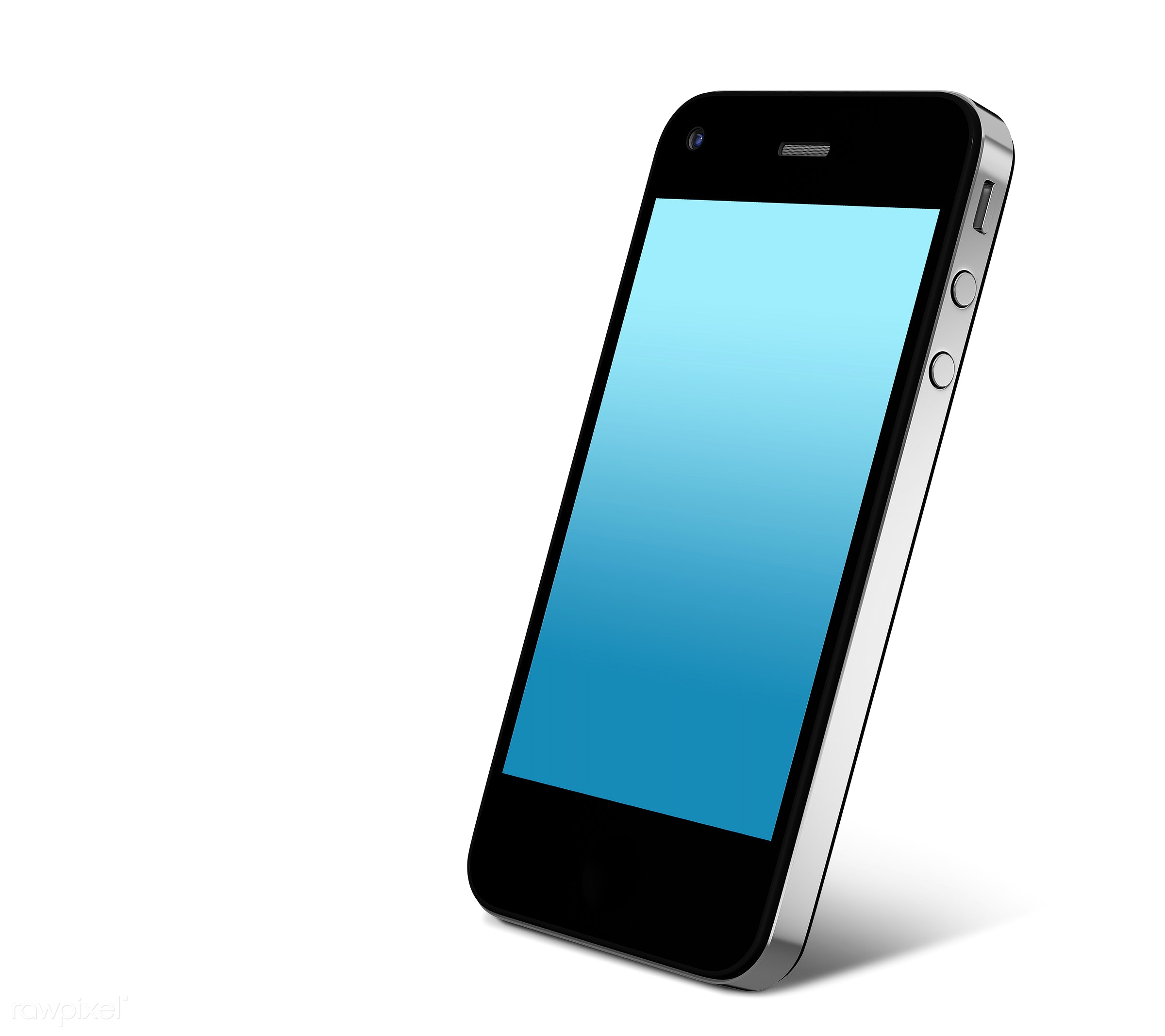 Three dimensional image of mobile phone - 3d, background, blank space, blue, cellphone, cellular phone, communication,...